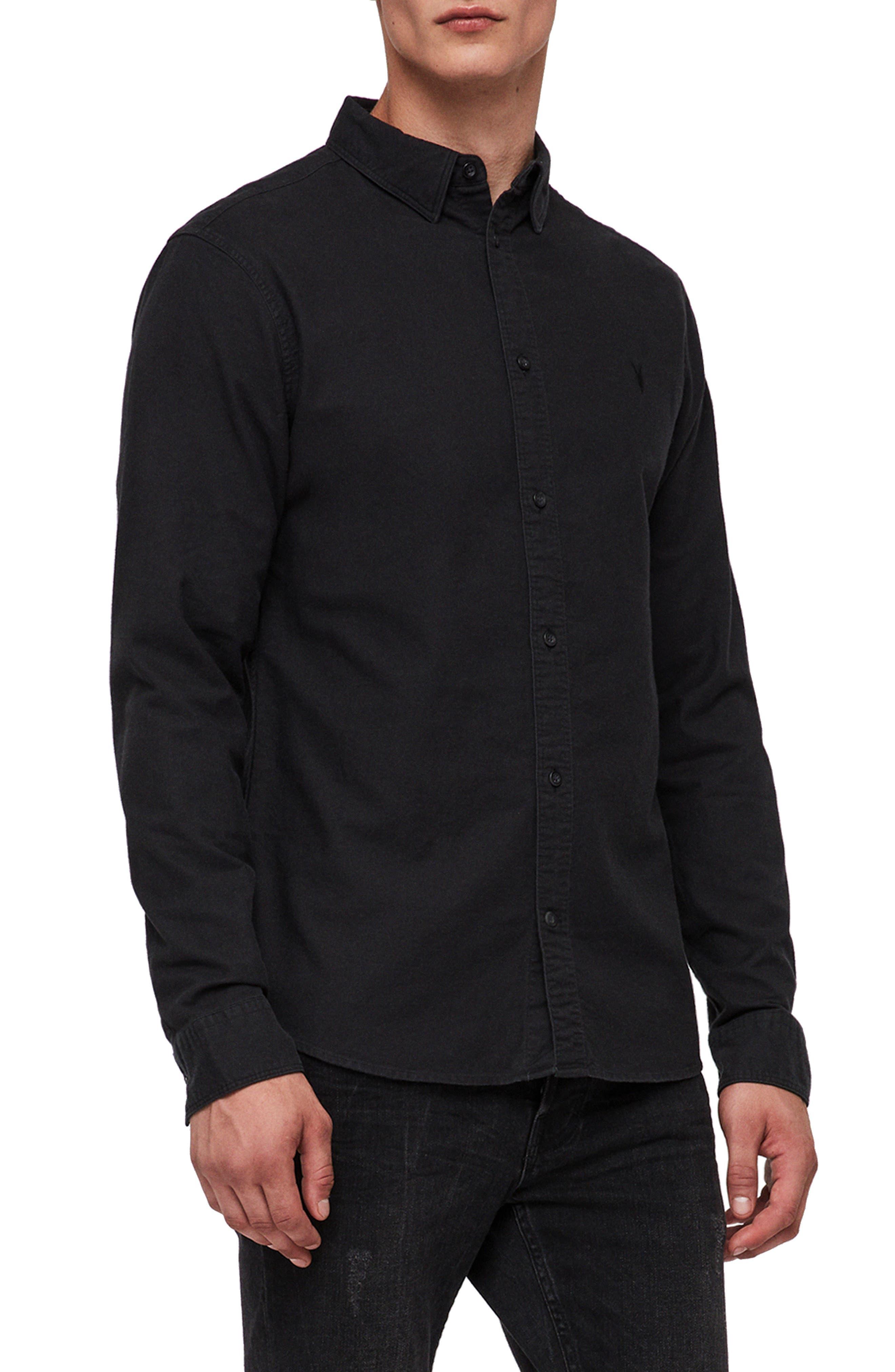 Huntington Regular Fit Sport Shirt,                             Alternate thumbnail 4, color,                             BLACK