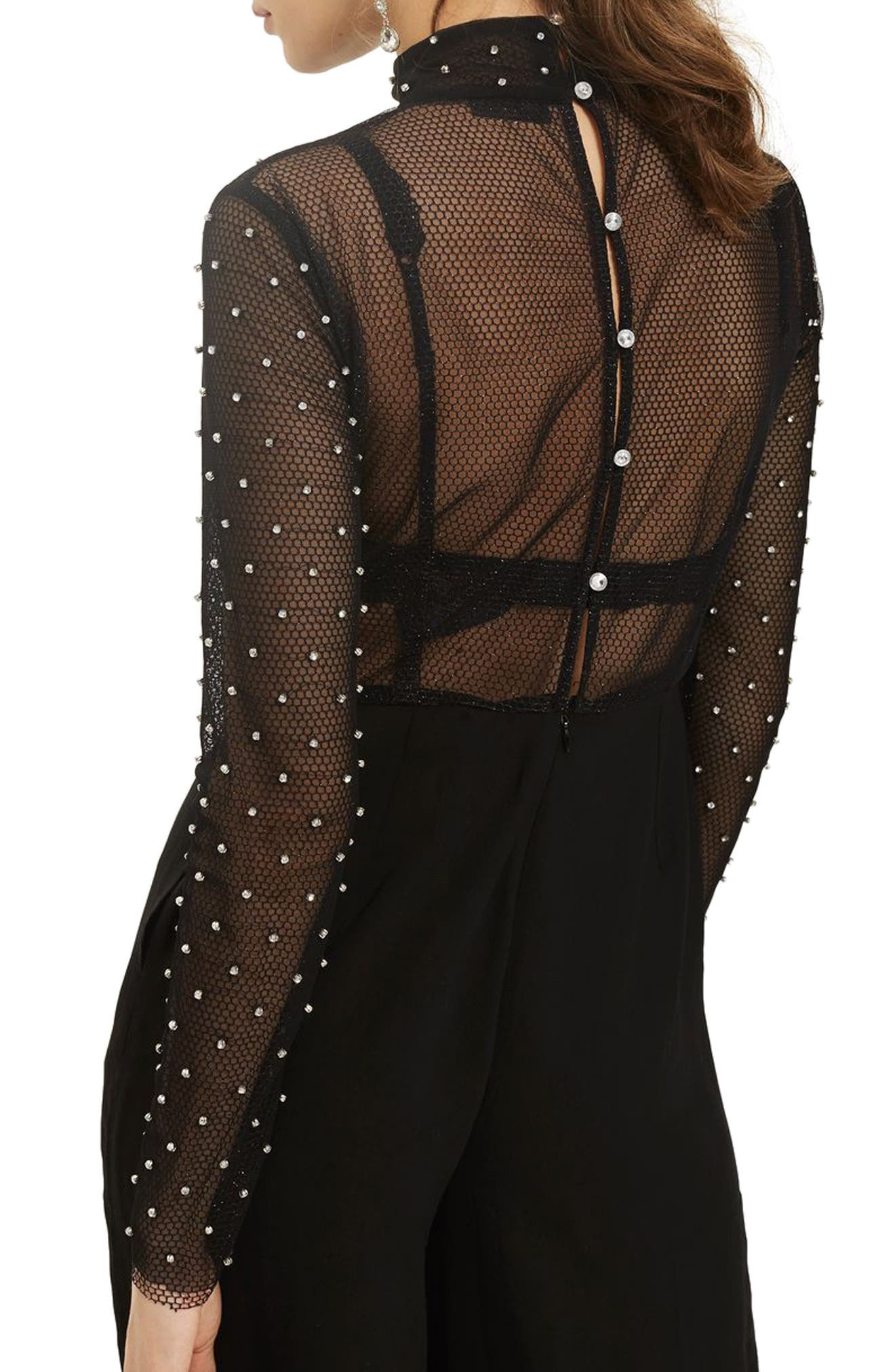 TOPSHOP,                             Diamante Fishnet Jumpsuit,                             Alternate thumbnail 3, color,                             001