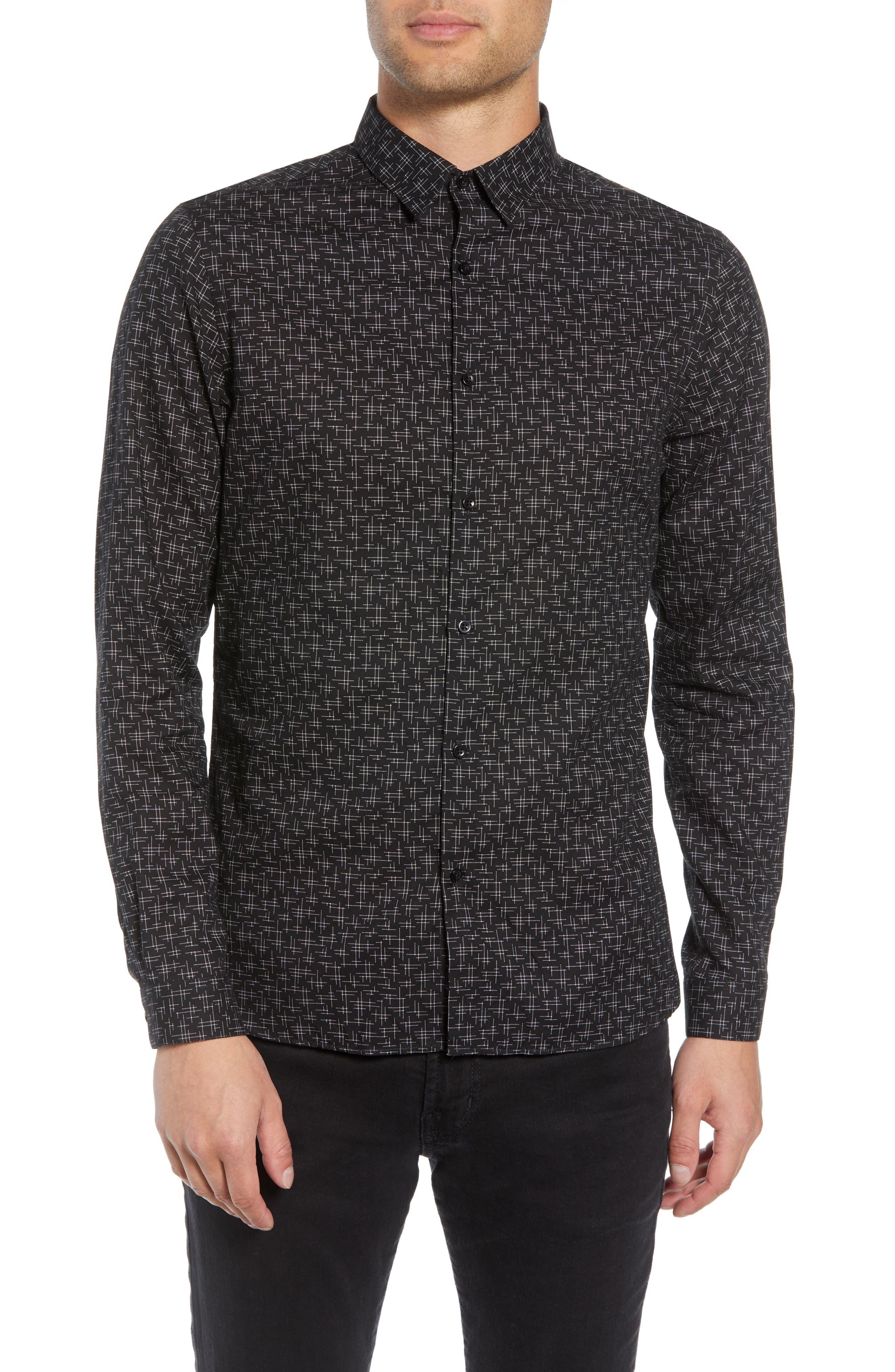 Slim Fit Print Shirt,                         Main,                         color, BLACK/ GREY
