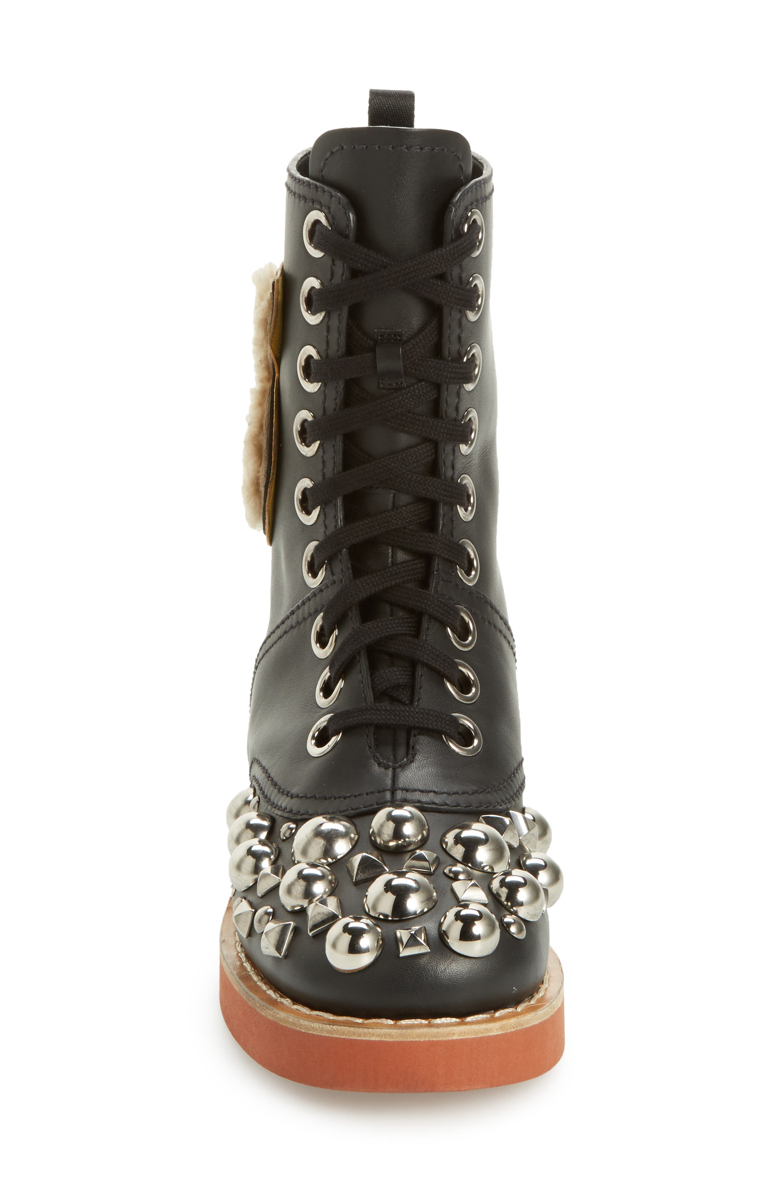 Genuine Shearling Trim Studded Lace-Up Boot,                             Alternate thumbnail 4, color,                             001