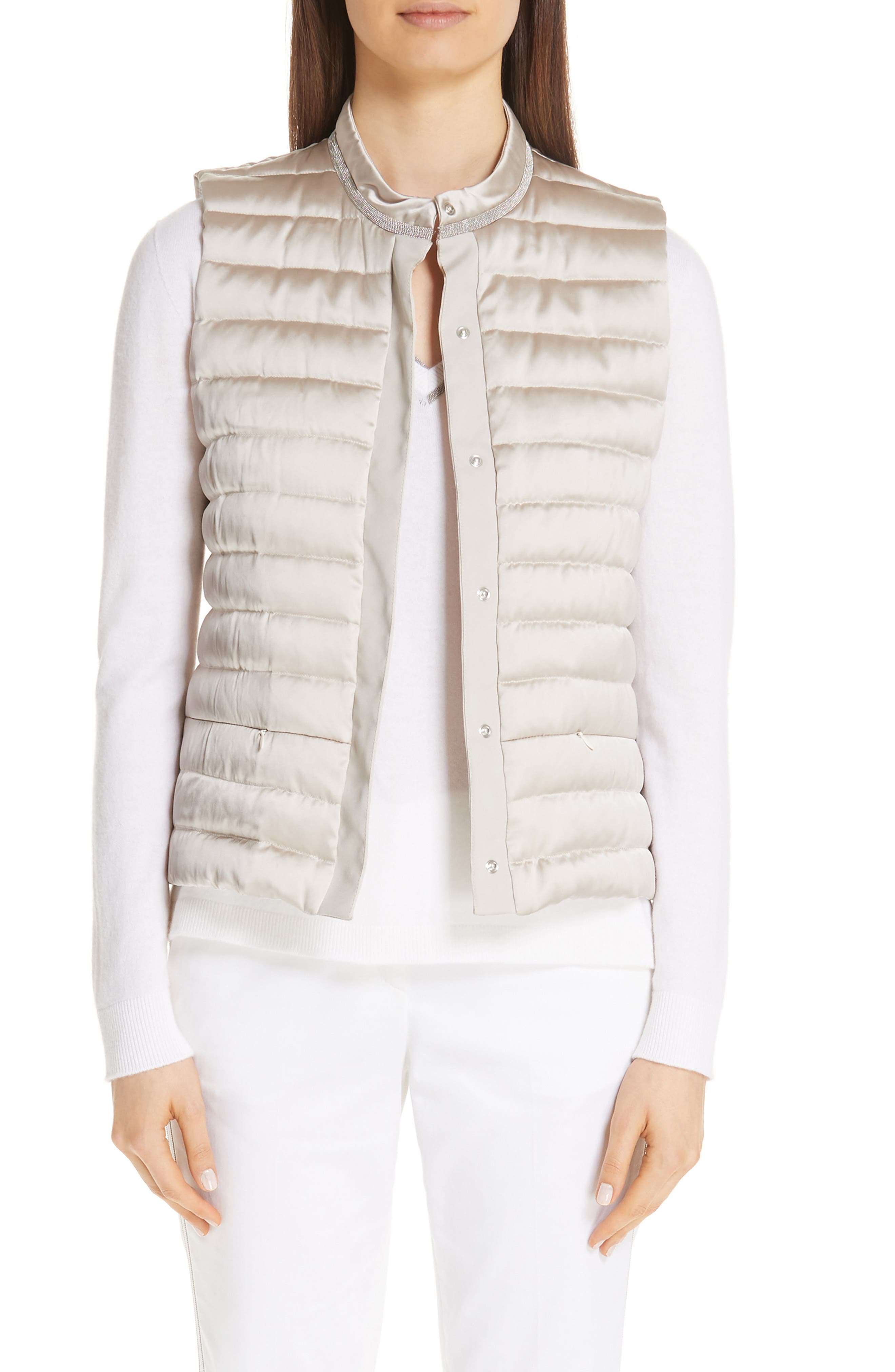 Quilted Satin Vest Front,                             Main thumbnail 1, color,                             CHAMPAGNE