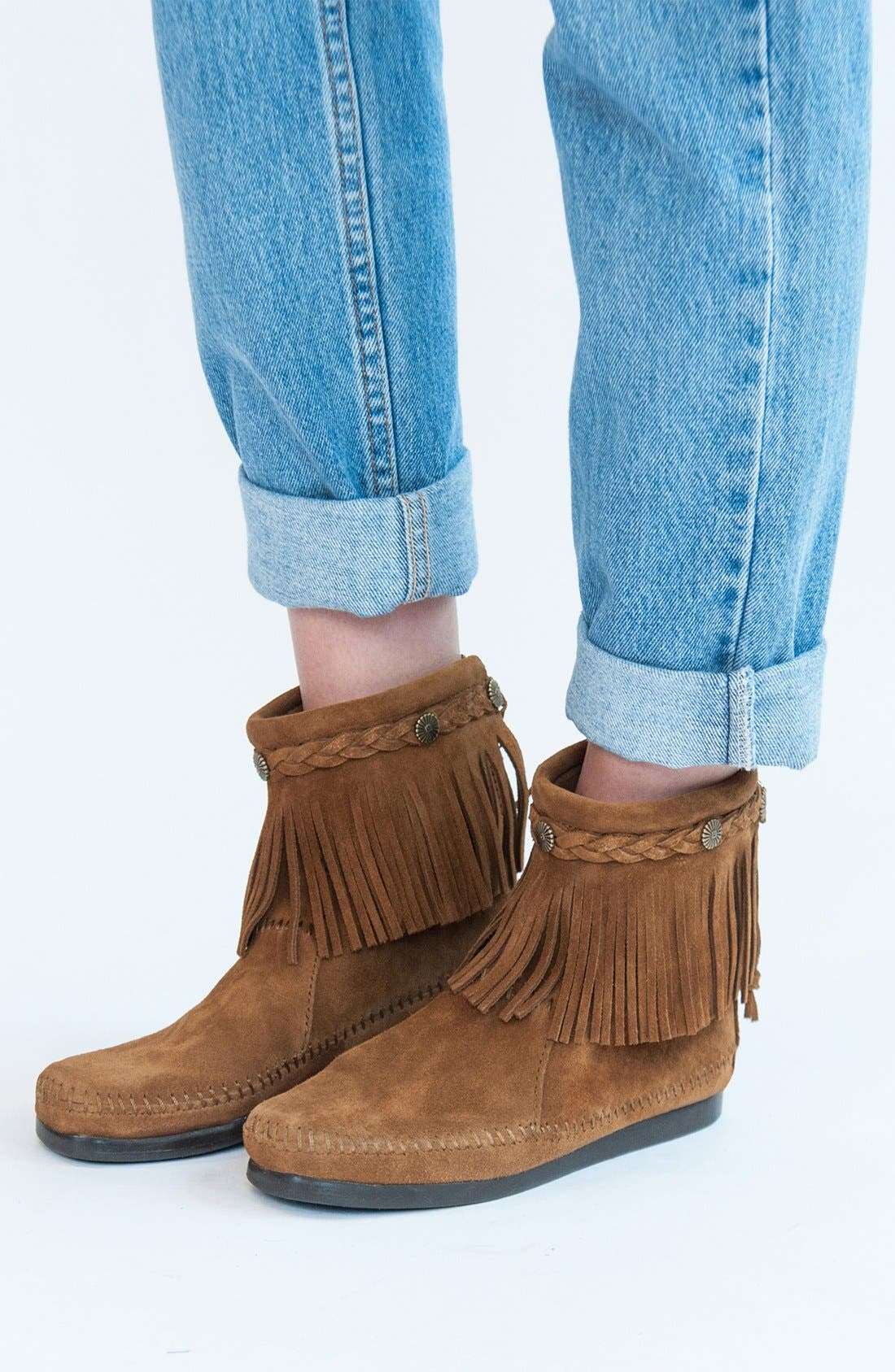 Fringed Moccasin Bootie,                             Alternate thumbnail 3, color,                             BROWN