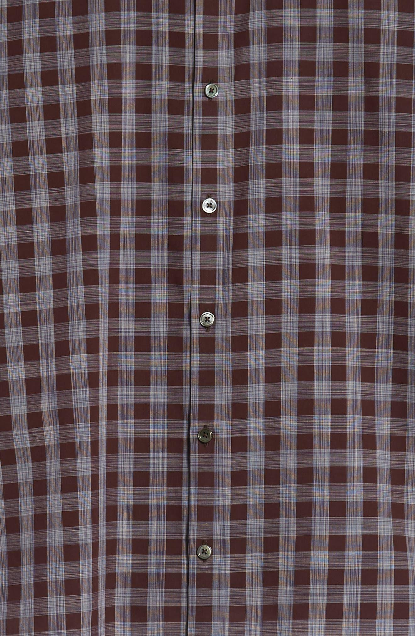Luca Regular Fit Check Sport Shirt,                             Alternate thumbnail 6, color,                             BURGUNDY