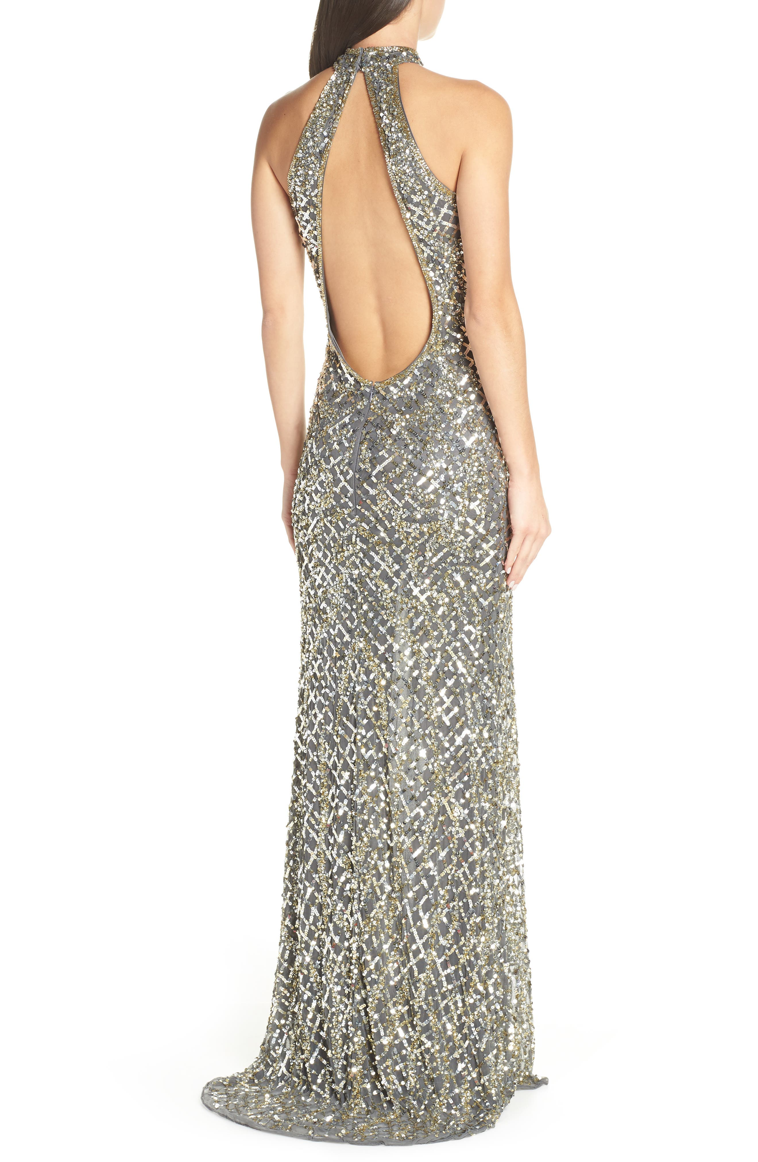 Beaded A-Line Halter Gown,                             Alternate thumbnail 2, color,                             020
