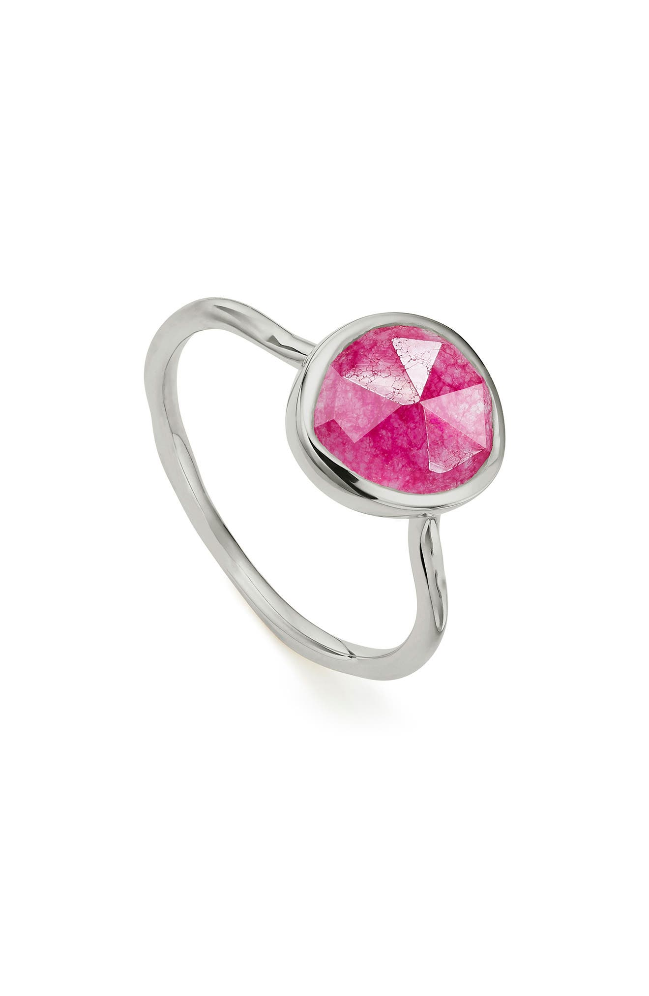 Siren Stacking Ring,                             Main thumbnail 1, color,                             SILVER/ PINK QUARTZ