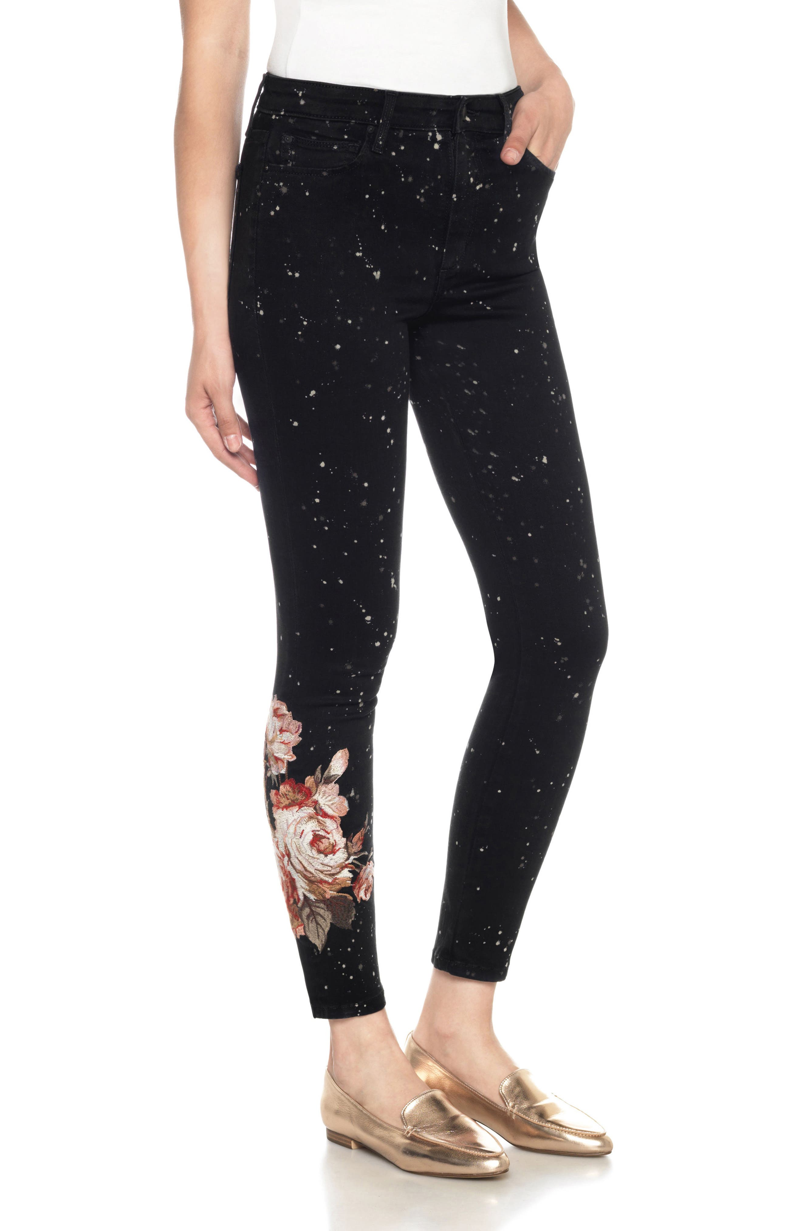 Charlie Embroidered Ankle Jeans,                             Main thumbnail 1, color,                             019