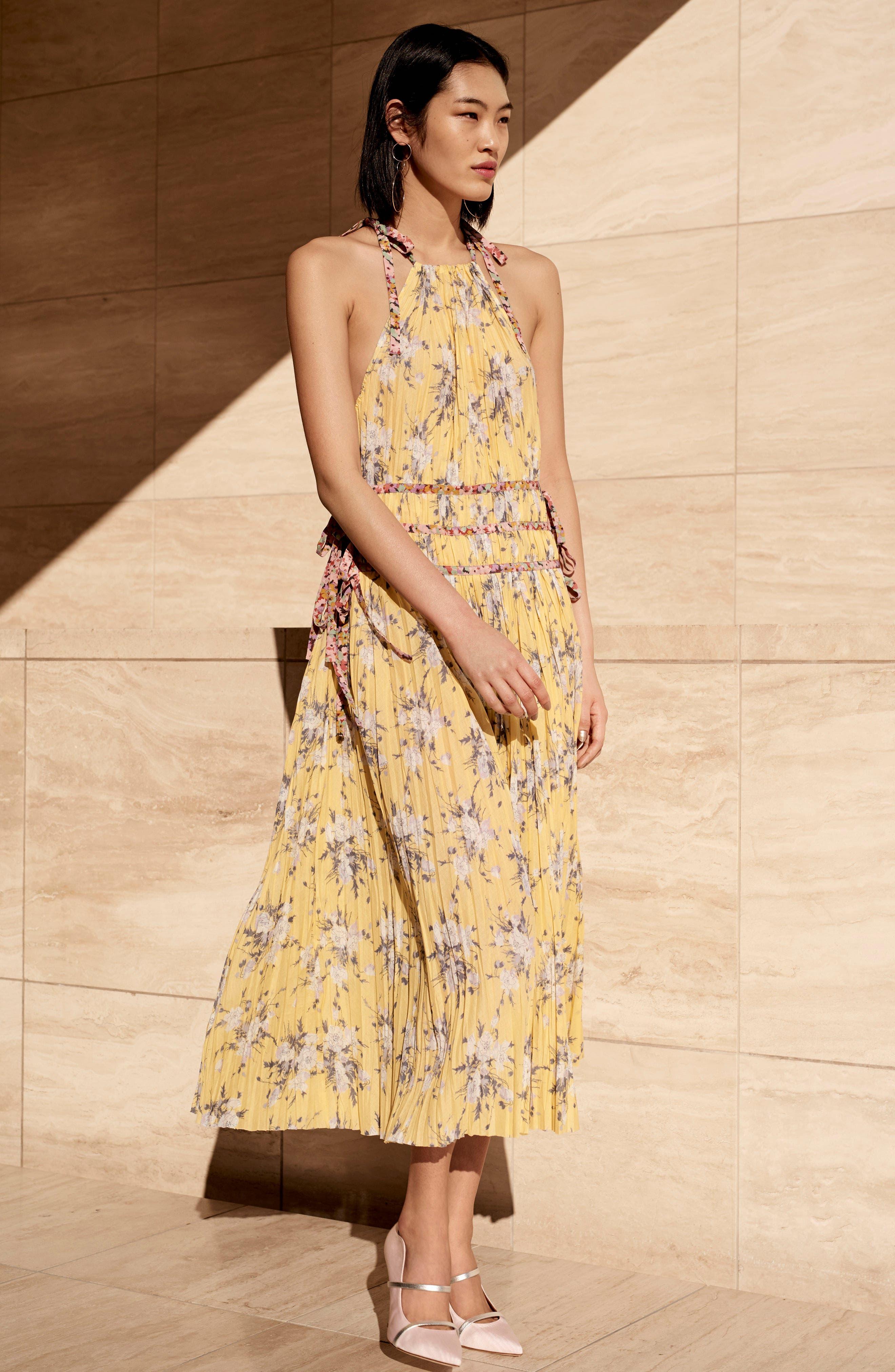 Pleat Midi Dress,                             Alternate thumbnail 6, color,