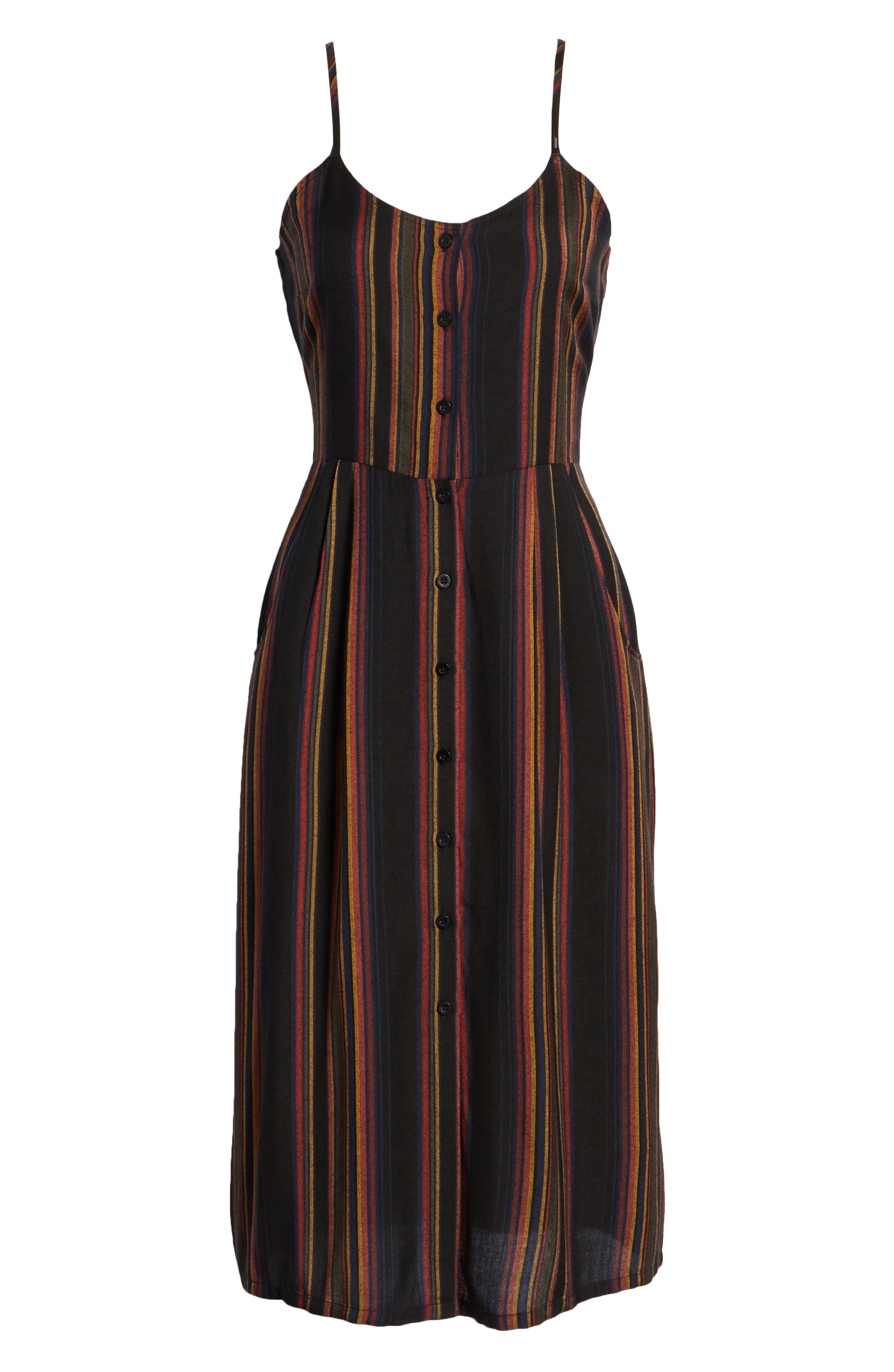 Medway Stripe Midi Dress,                             Alternate thumbnail 7, color,                             001