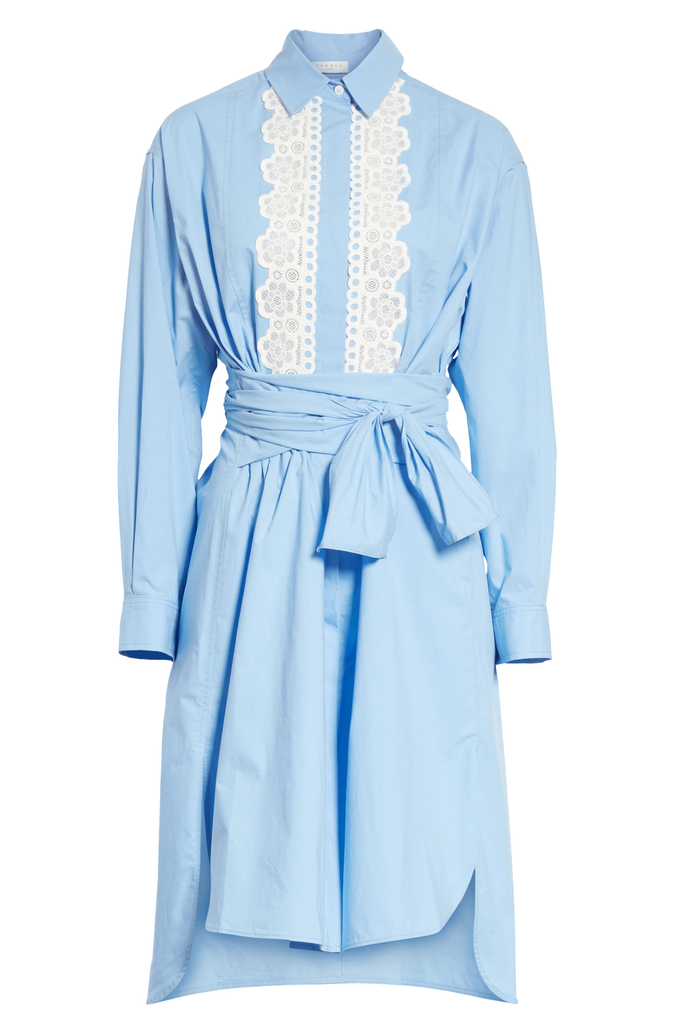 Bleu Ciel Cotton Shirtdress,                             Alternate thumbnail 6, color,