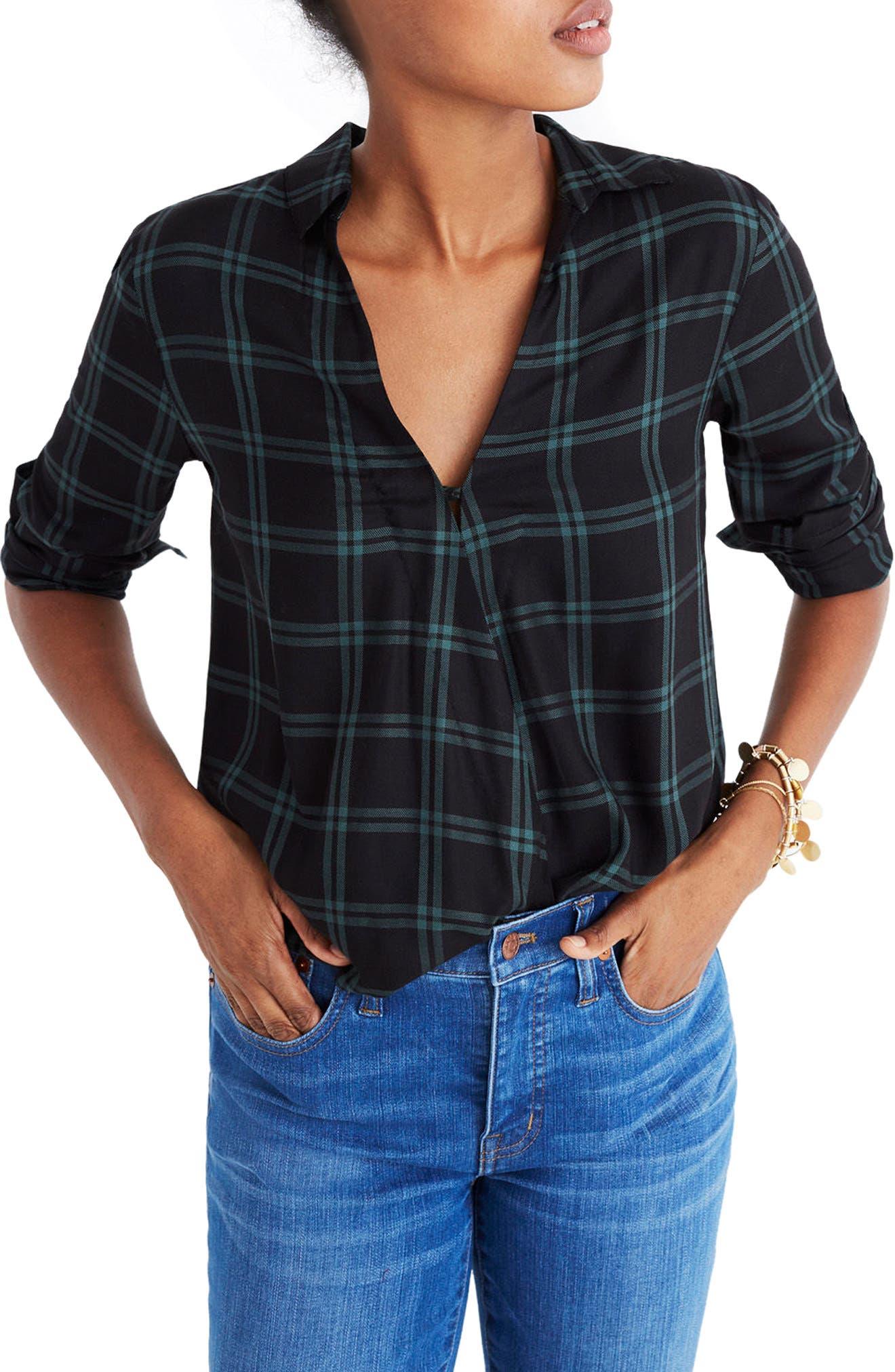 Plaid Faux Wrap Shirt,                         Main,                         color, OLD VINE