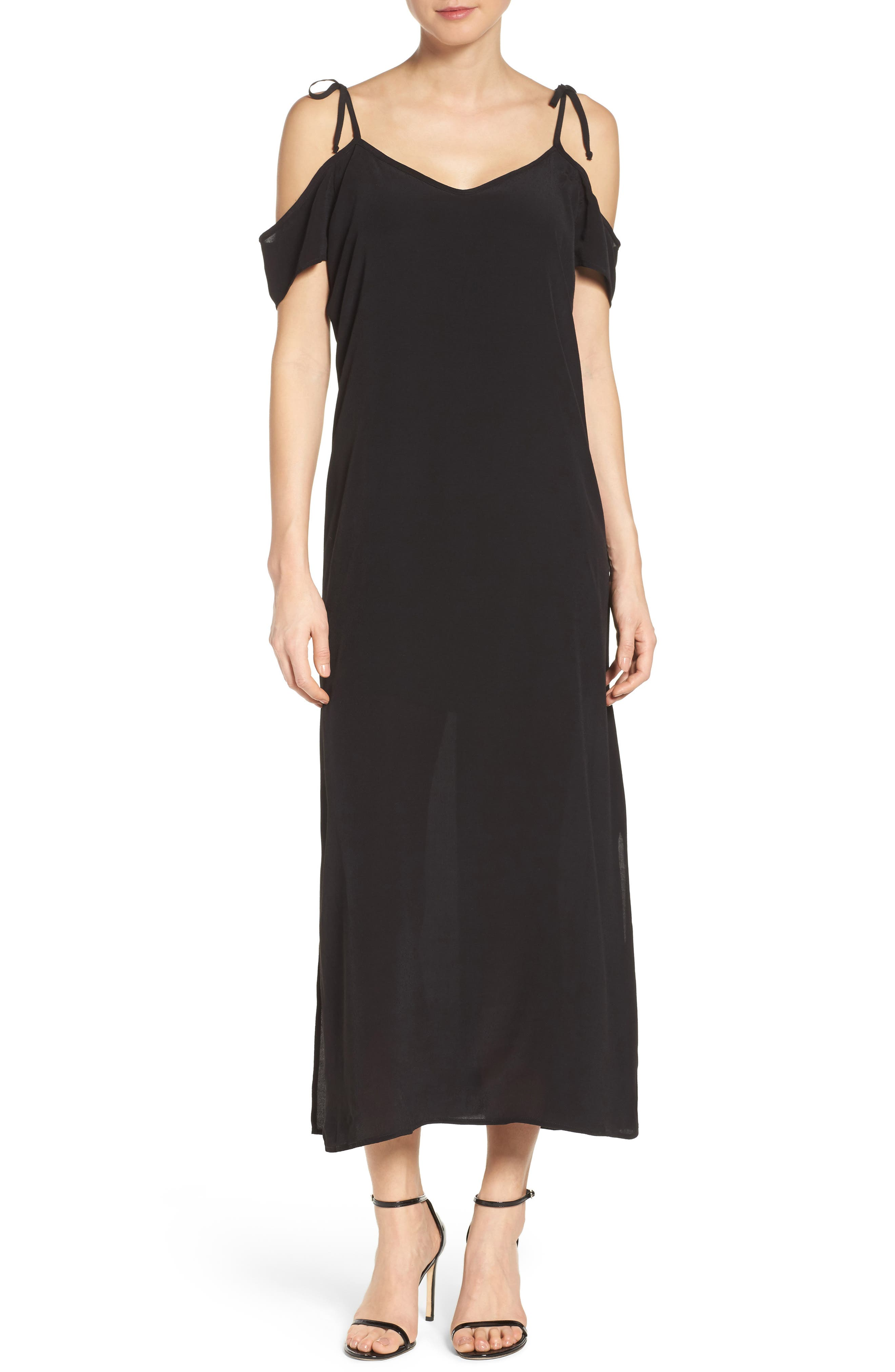 Tie Cold Shoulder Midi Dress,                         Main,                         color, 001