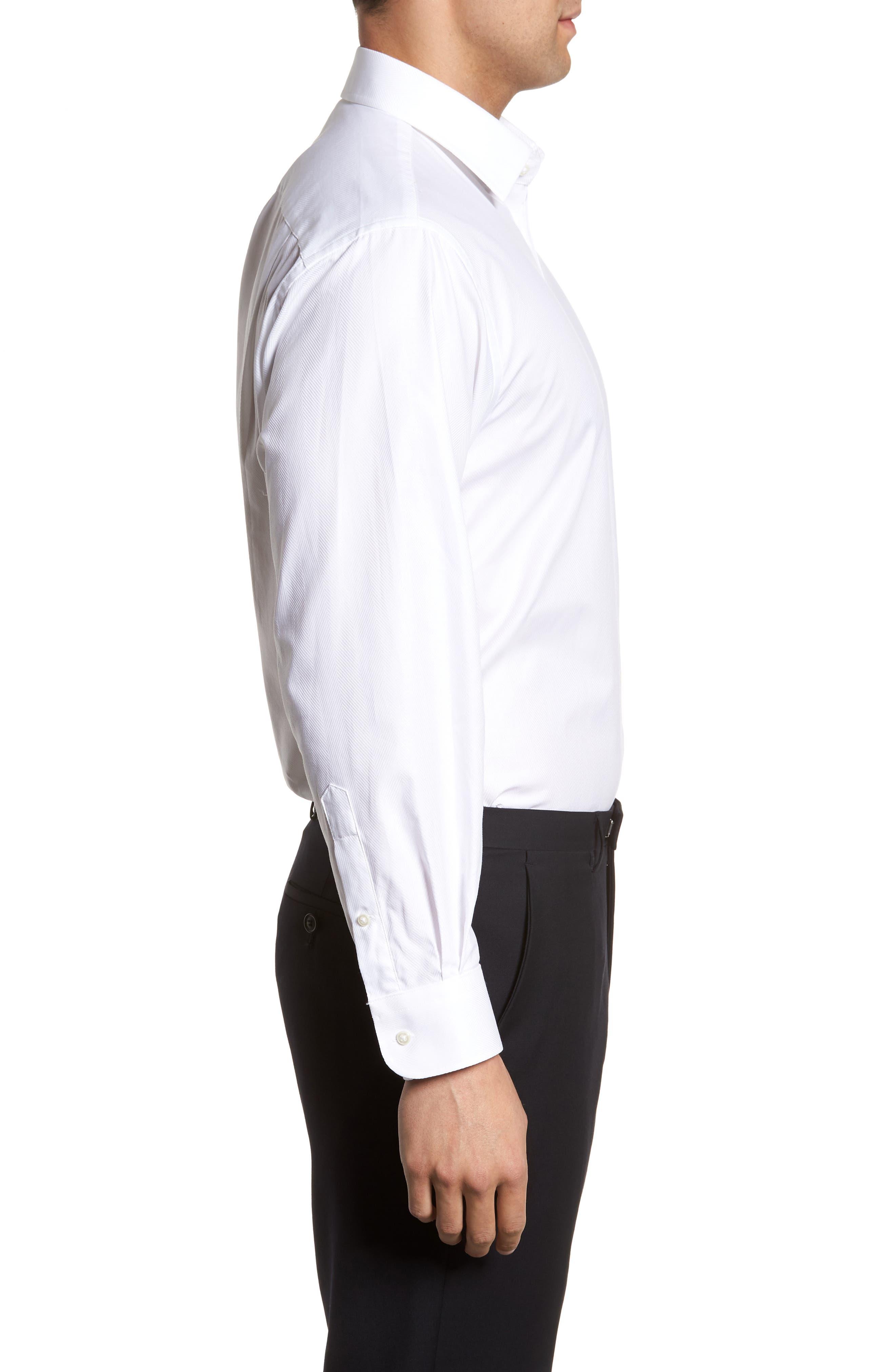 Classic Fit Herringbone Dress Shirt,                             Alternate thumbnail 4, color,                             100