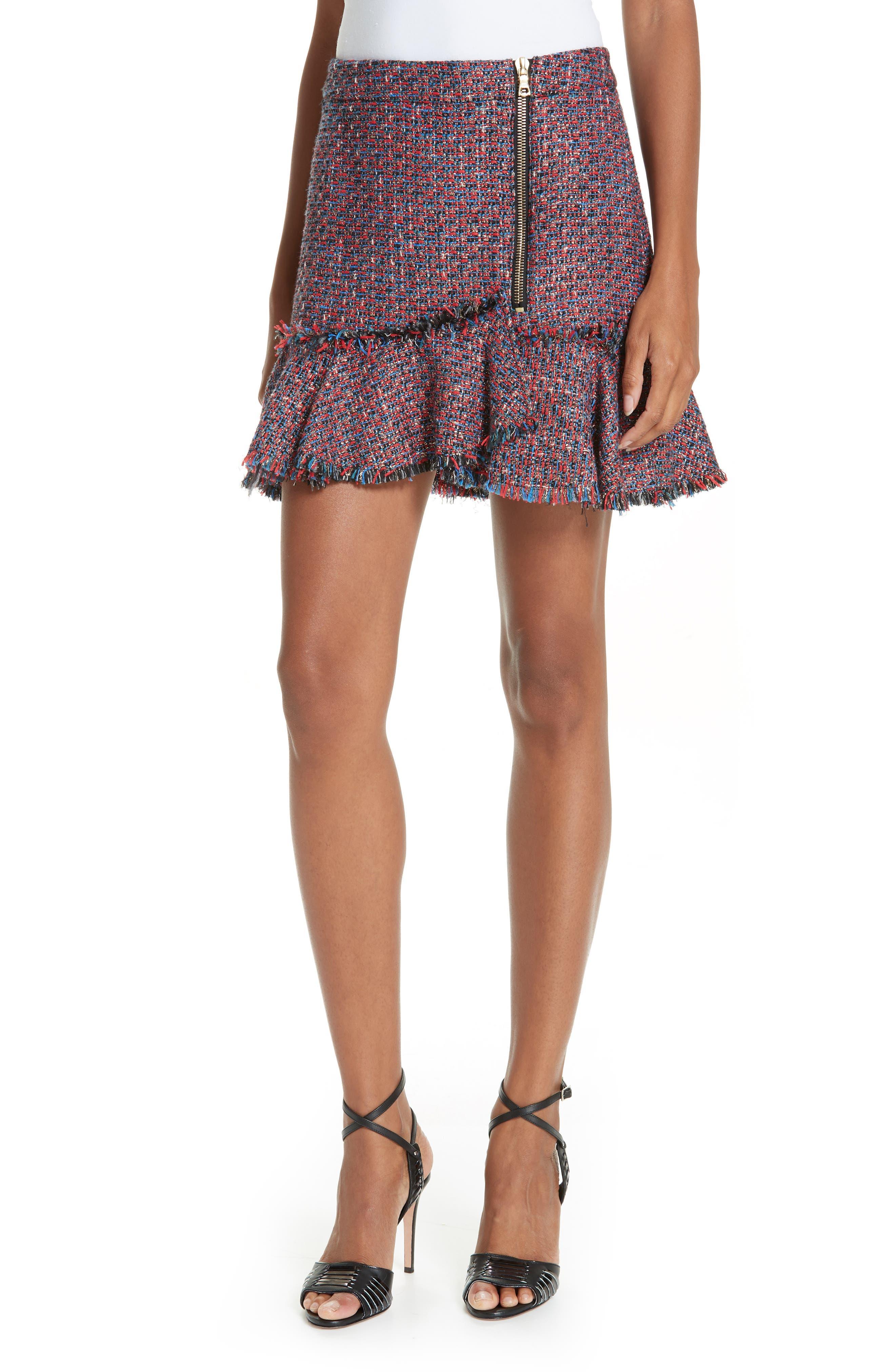 Madra Tweed Skirt,                         Main,                         color, RED MULTI