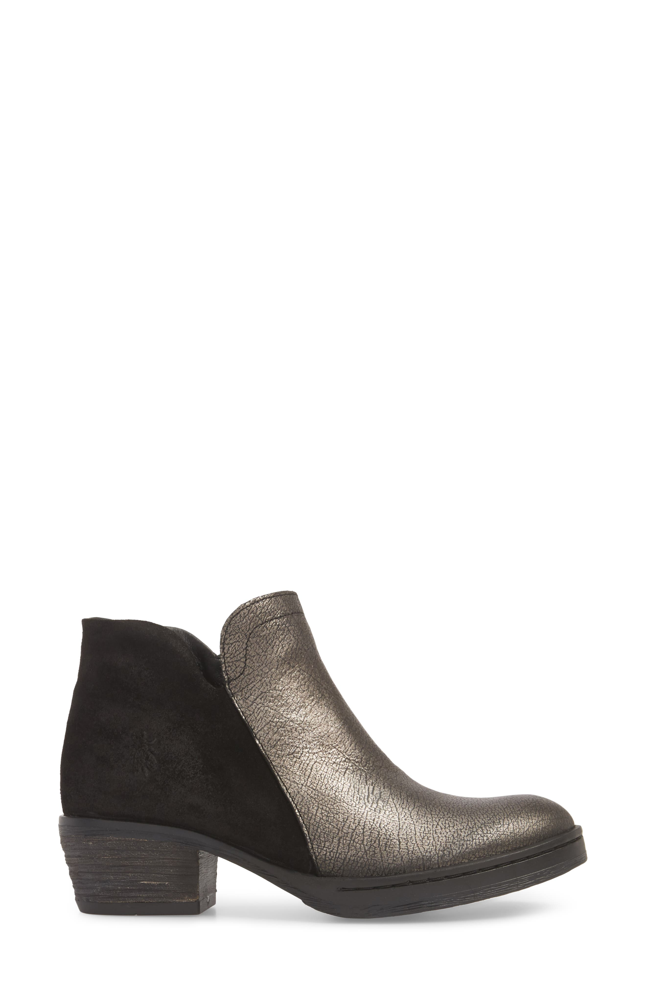 Cled Bootie,                             Alternate thumbnail 3, color,                             BLACK/ SILVER OIL LEATHER