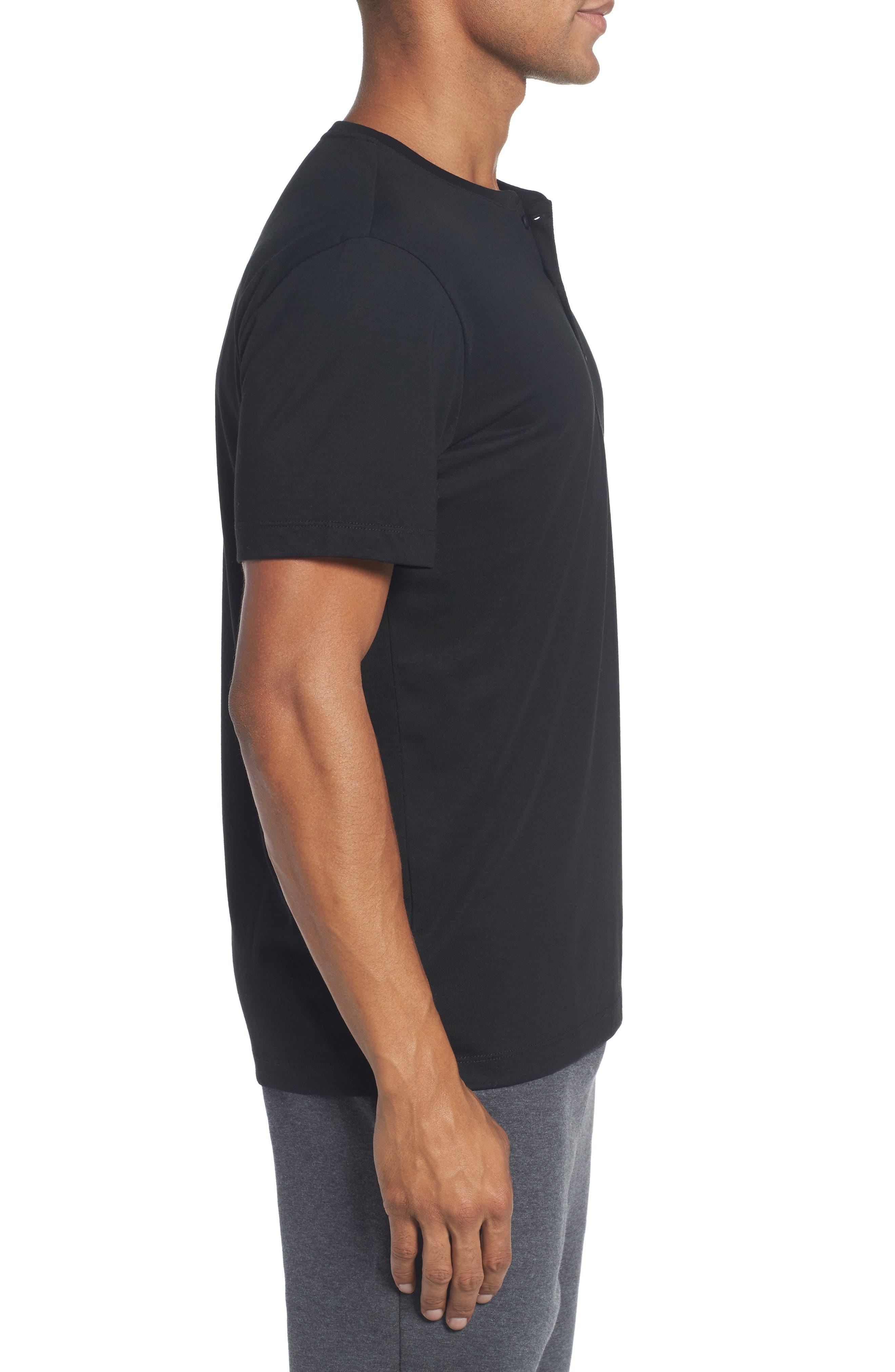 Henley T-Shirt,                             Alternate thumbnail 3, color,                             BLACK