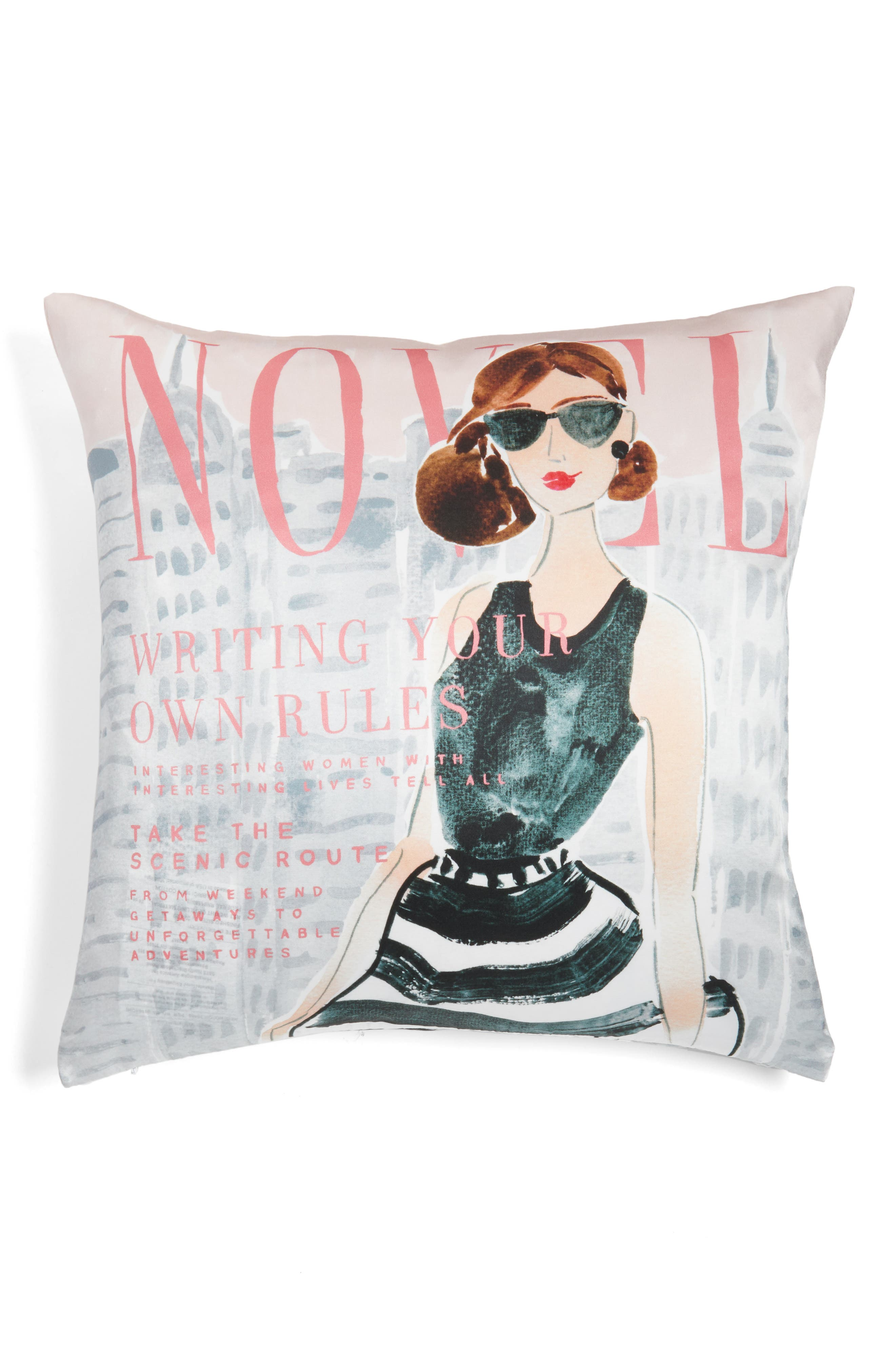vogue - writing your own rules accent pillow,                             Main thumbnail 1, color,                             BLACK/ MULTI