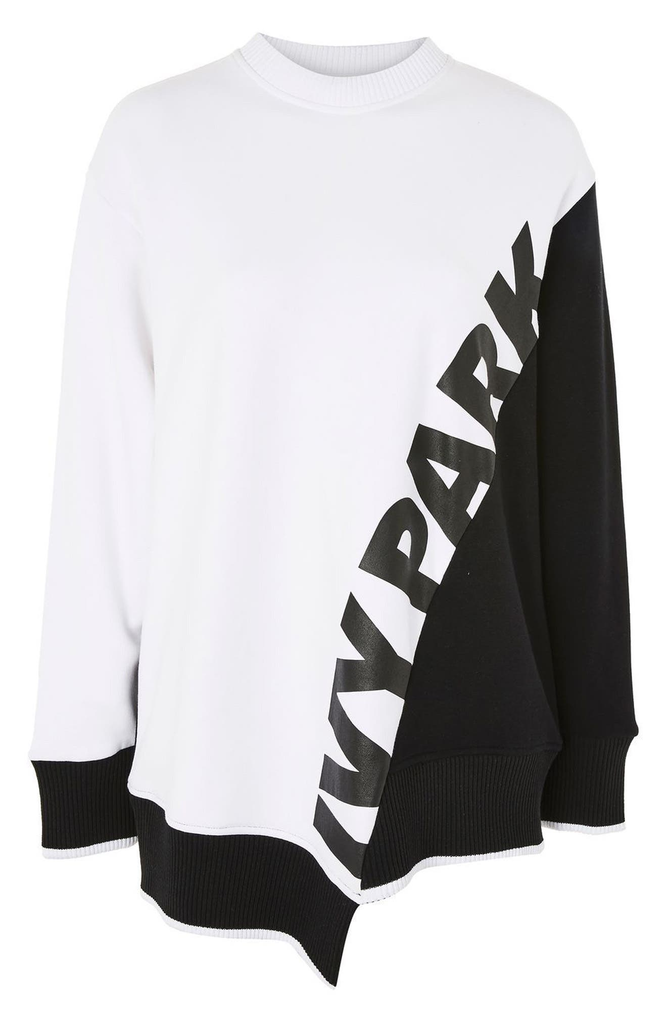 Asymmetrical Logo Sweatshirt,                             Alternate thumbnail 3, color,                             100