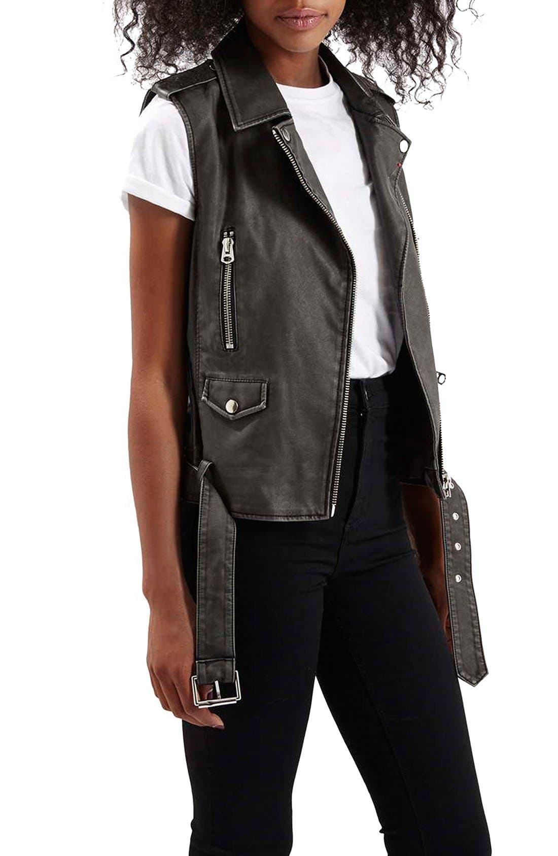 TOPSHOP 'Sylvia' Faux Leather Moto Vest, Main, color, 001
