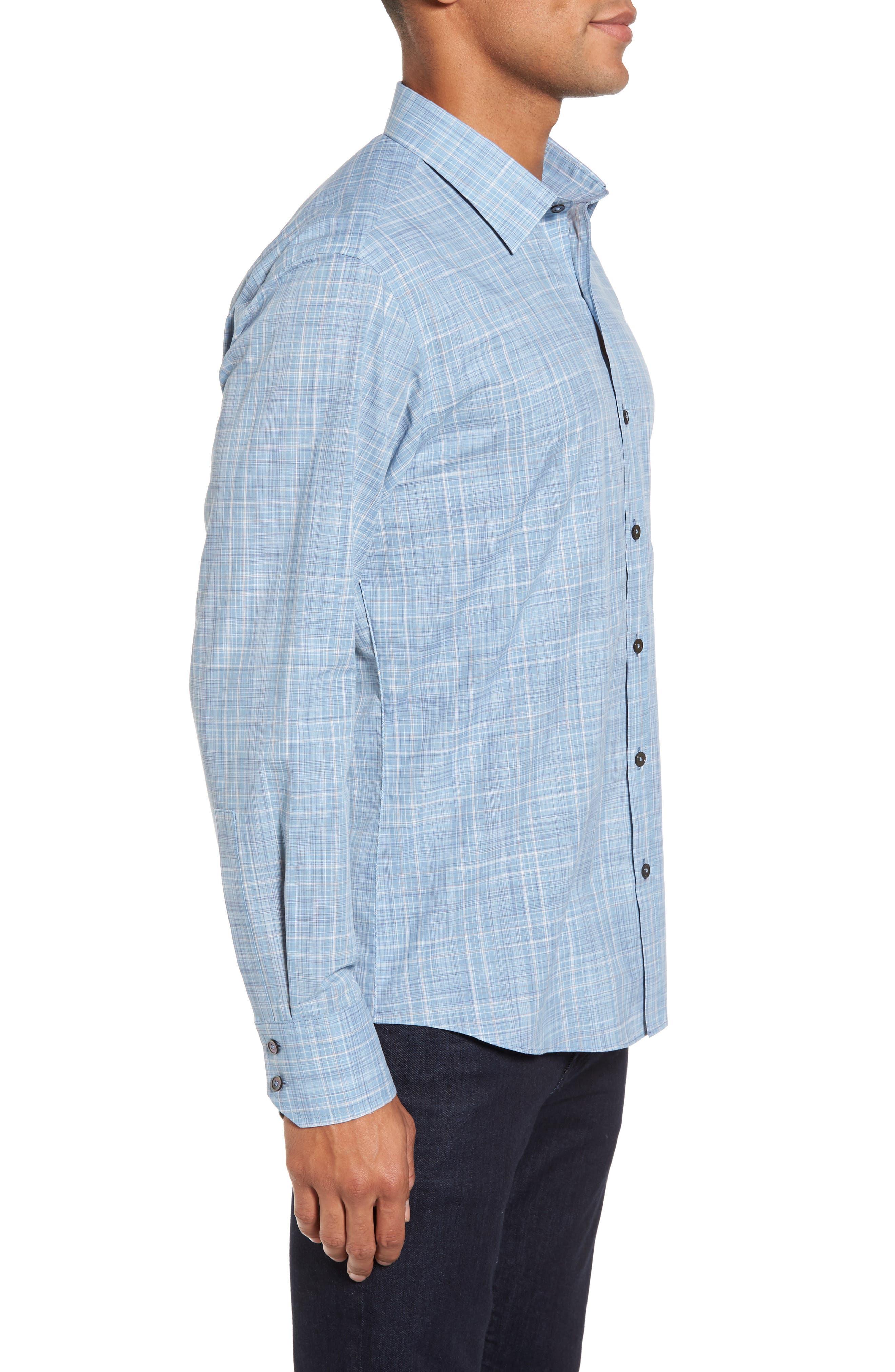 Clark Slim Fit Plaid Sport Shirt,                             Alternate thumbnail 3, color,                             450