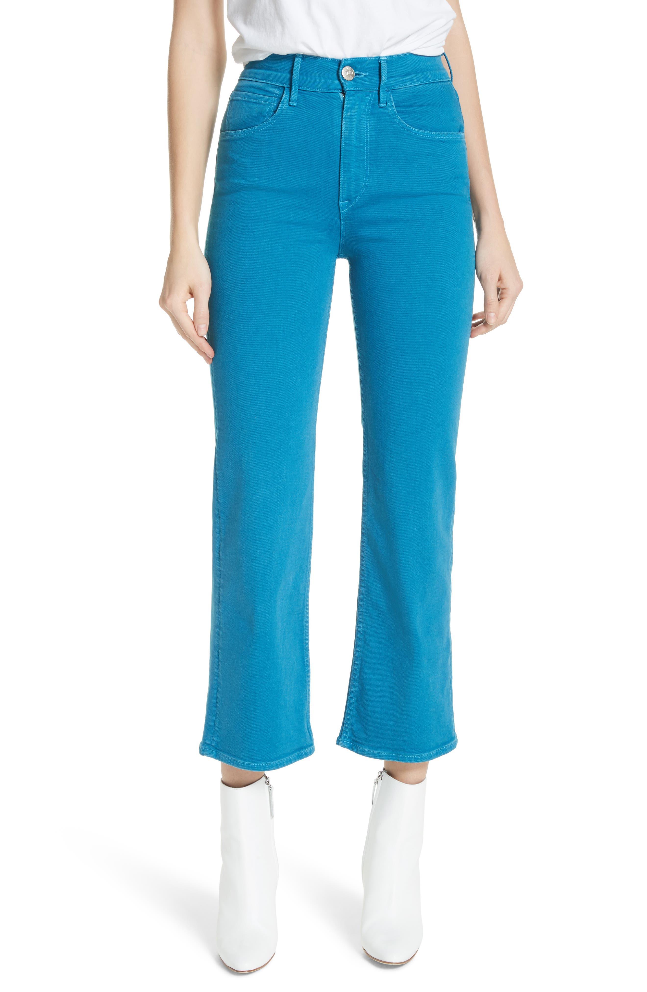 W4 Shelter Wide Leg Crop Jeans,                         Main,                         color, PEACOCK BLUE