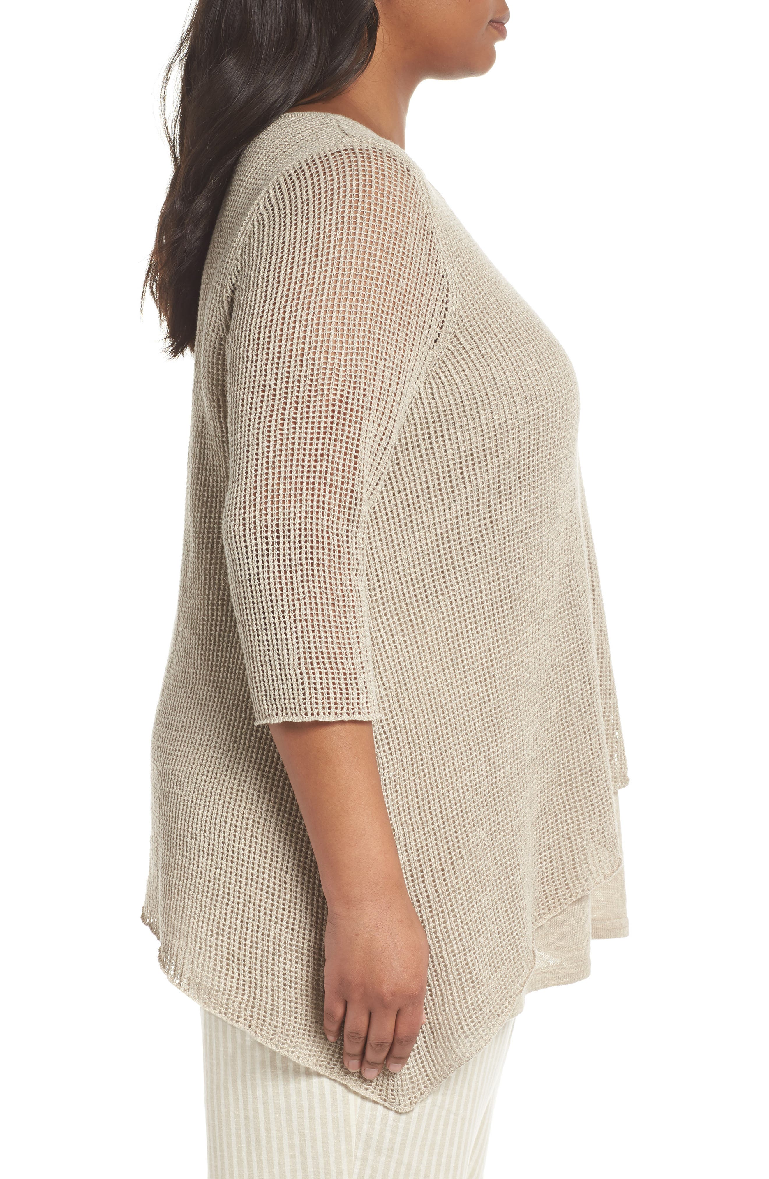 Layered Organic Linen Tunic Sweater,                             Alternate thumbnail 3, color,                             251