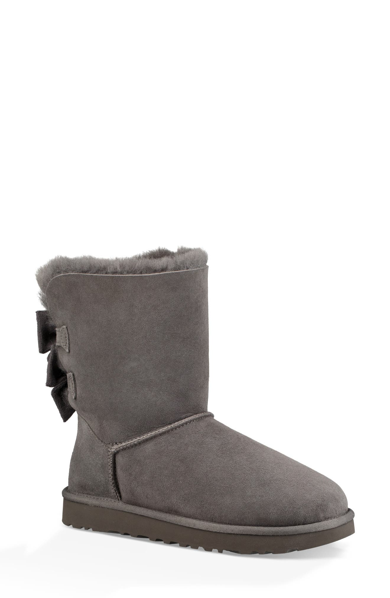 Bailey Bow Genuine Shearling Bootie,                             Main thumbnail 1, color,                             020