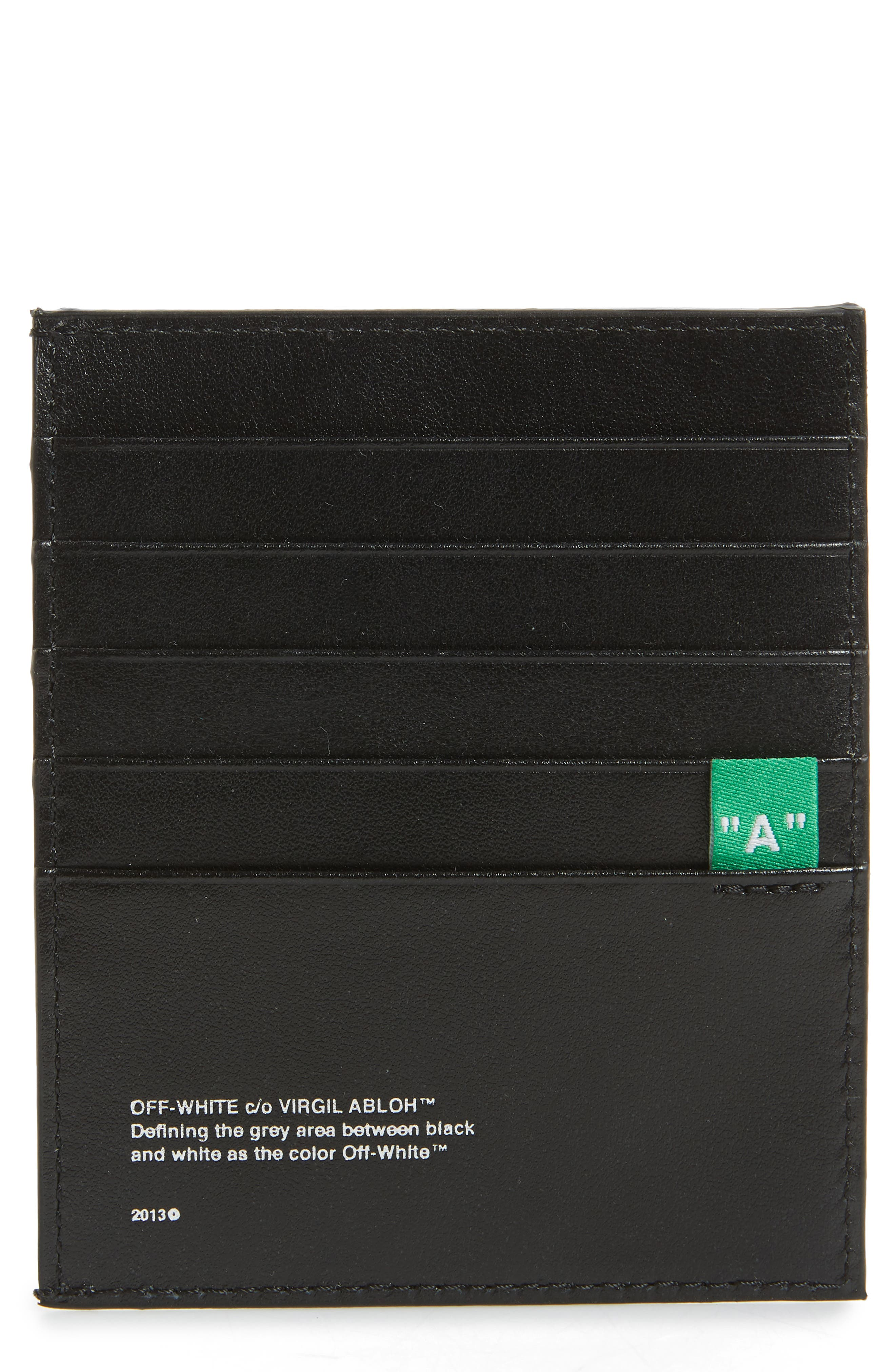 OFF-WHITE Diagonal Print Leather Card Case, Main, color, BLACK/WHITE