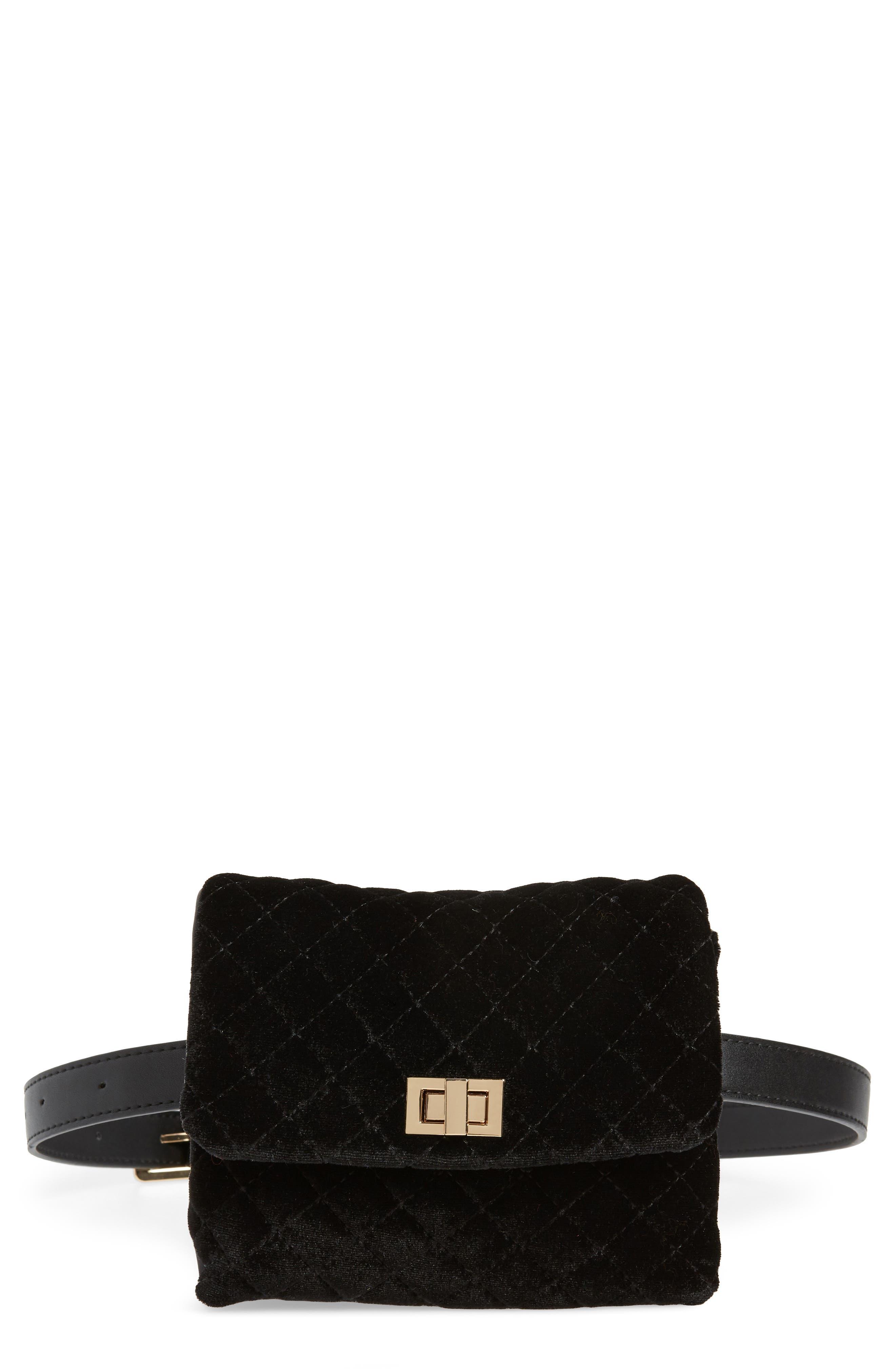 Mali + Lili Nikki Quilted Velvet Belt Bag,                             Main thumbnail 1, color,                             BLACK