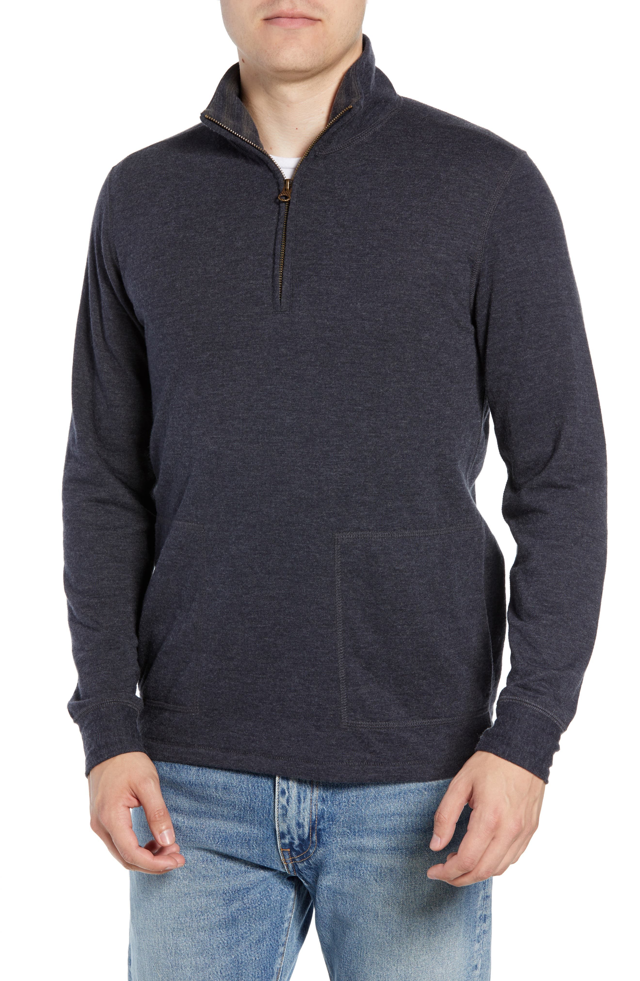 Billy Reid Charles Regular Fit Half Zip Sweater, Blue