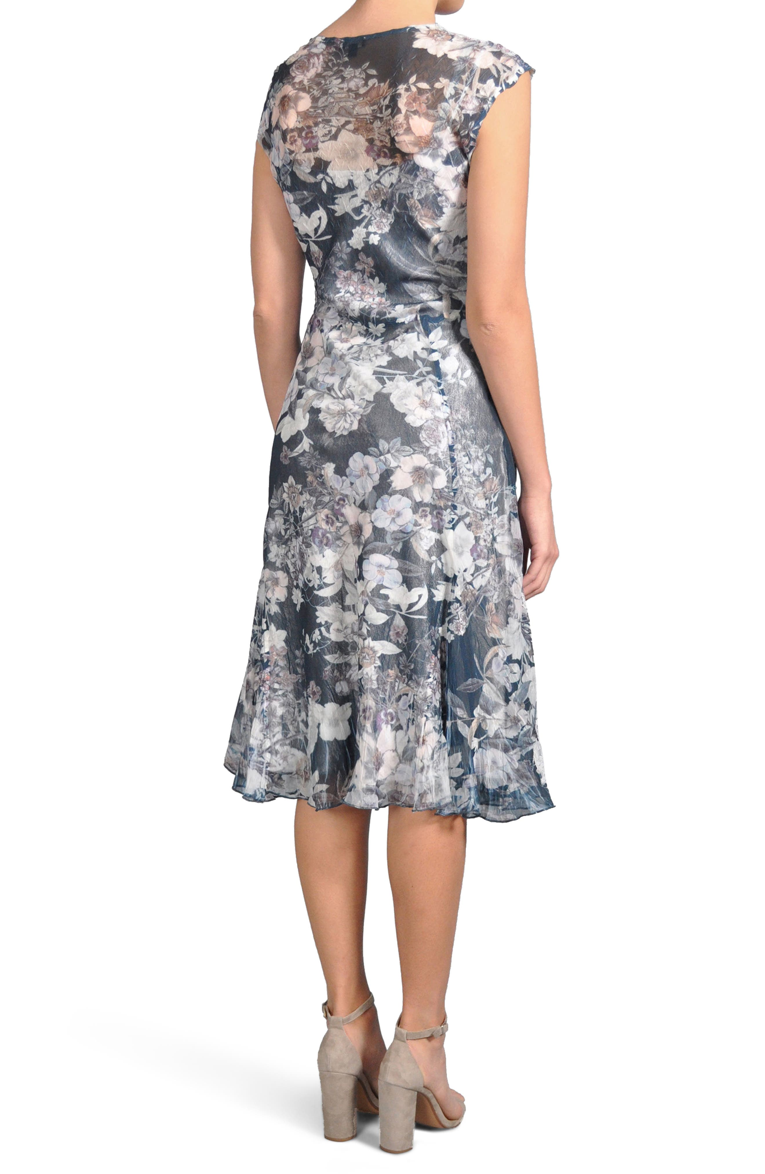Print Pleated Chiffon & Charmeuse Dress,                             Alternate thumbnail 2, color,                             404