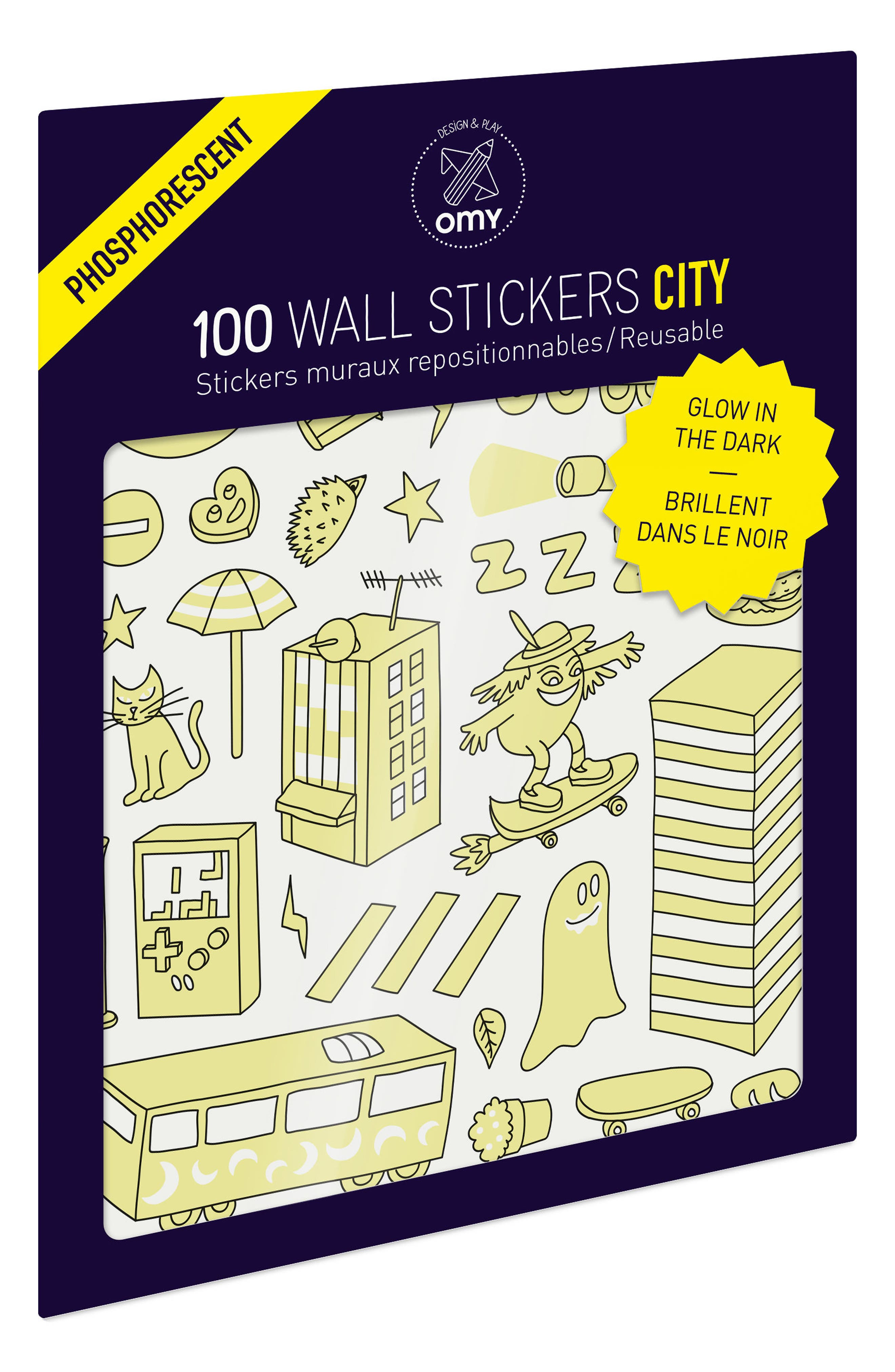 Set of 100 City Glow in the Dark Wall Stickers,                             Main thumbnail 1, color,                             100