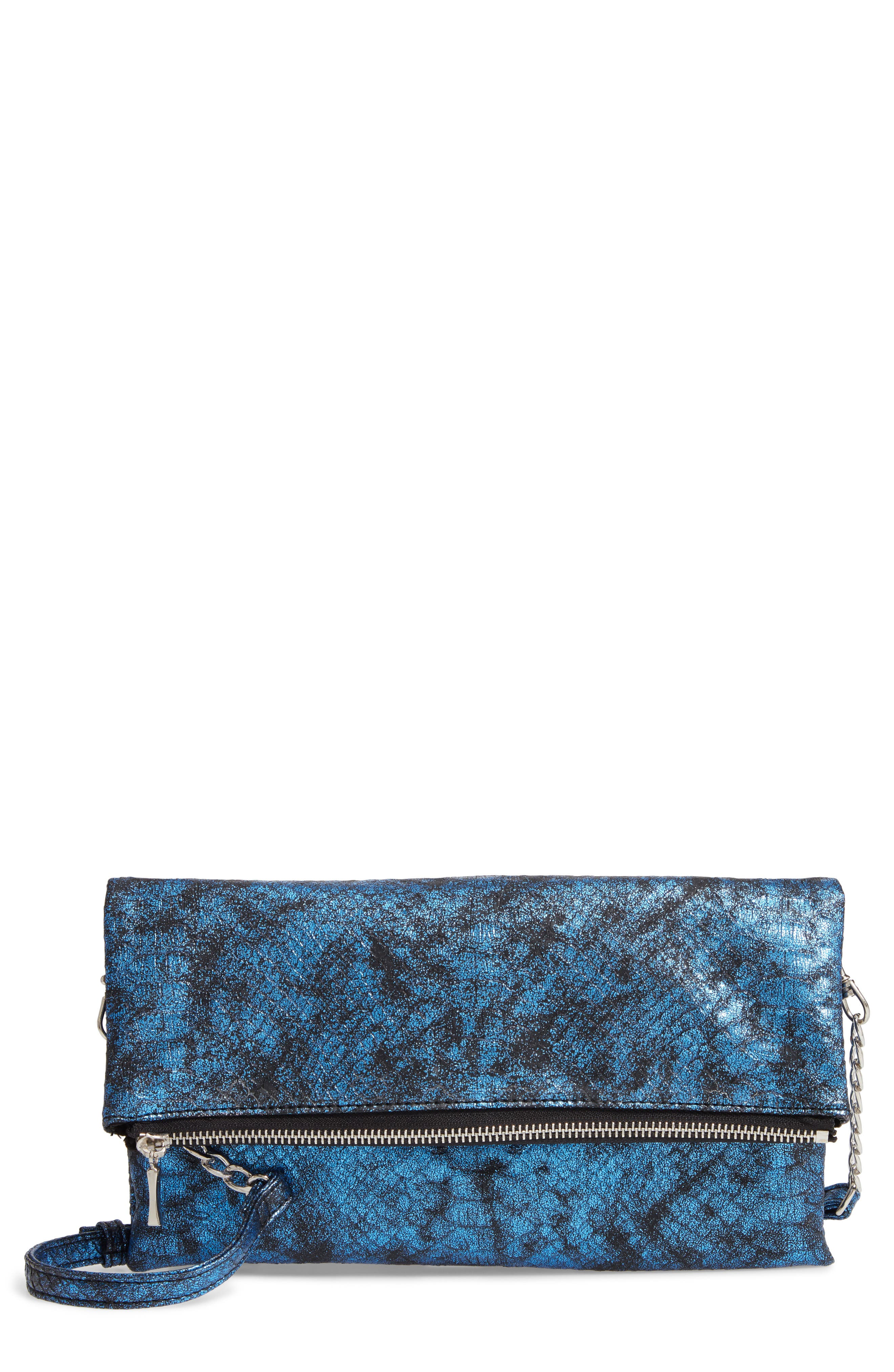 Snake Embossed Faux Leather Clutch,                         Main,                         color, NAVY