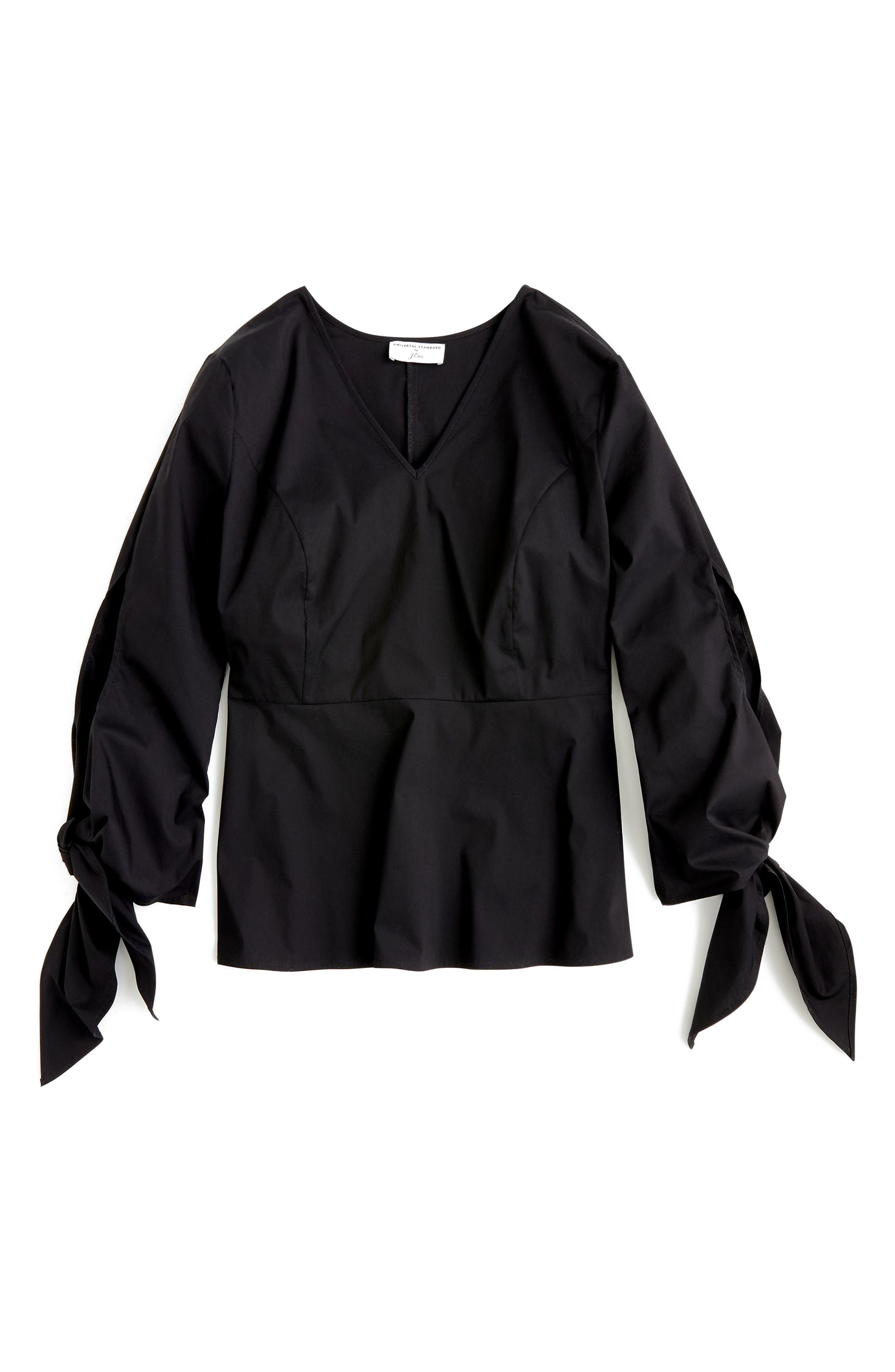 for J.Crew Stretch Poplin Tie Sleeve Top,                             Main thumbnail 1, color,                             BLACK