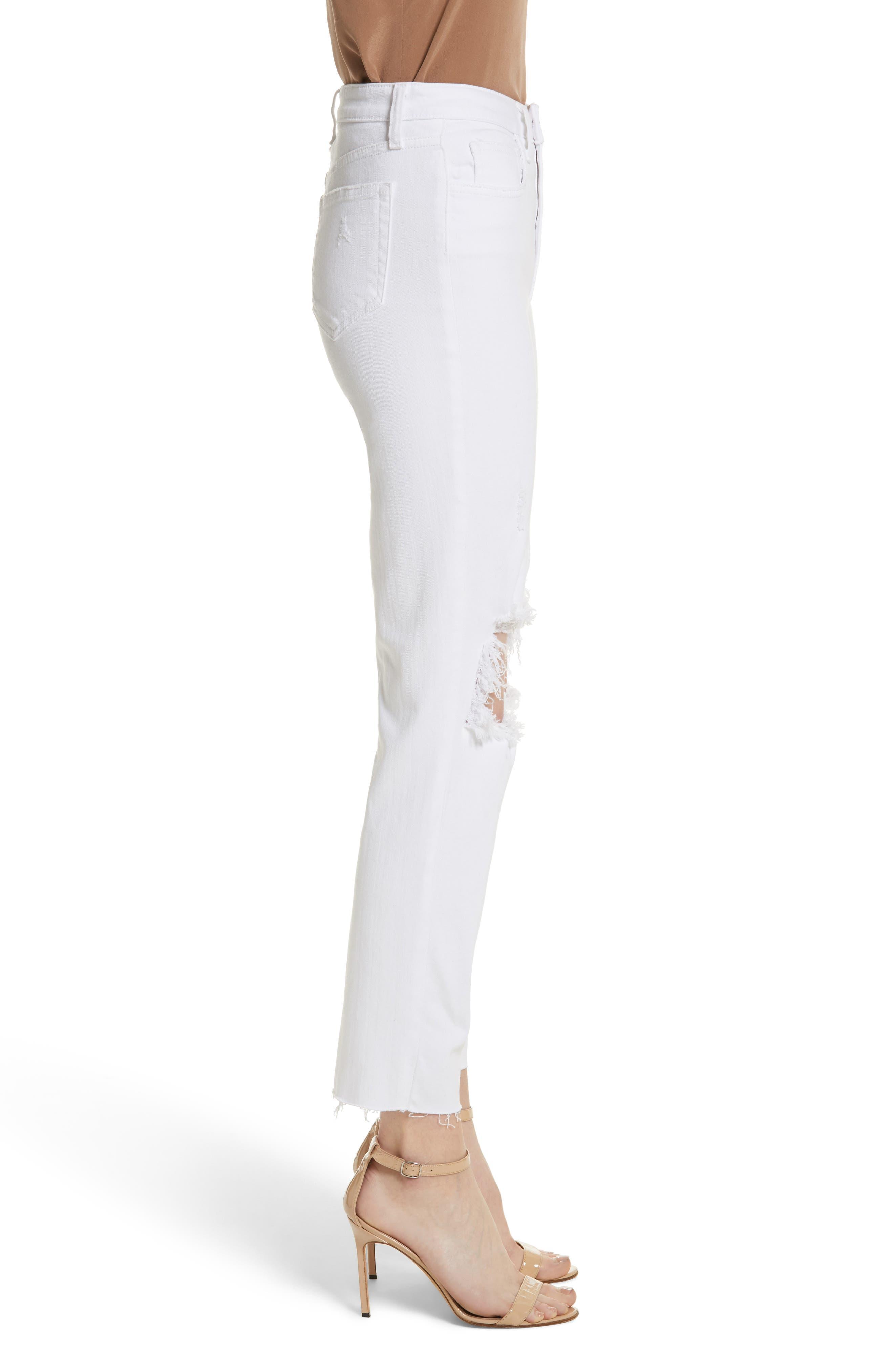 Audrina Ripped Straight Leg Crop Jeans,                             Alternate thumbnail 3, color,                             BLANC WORN DESTRUCT