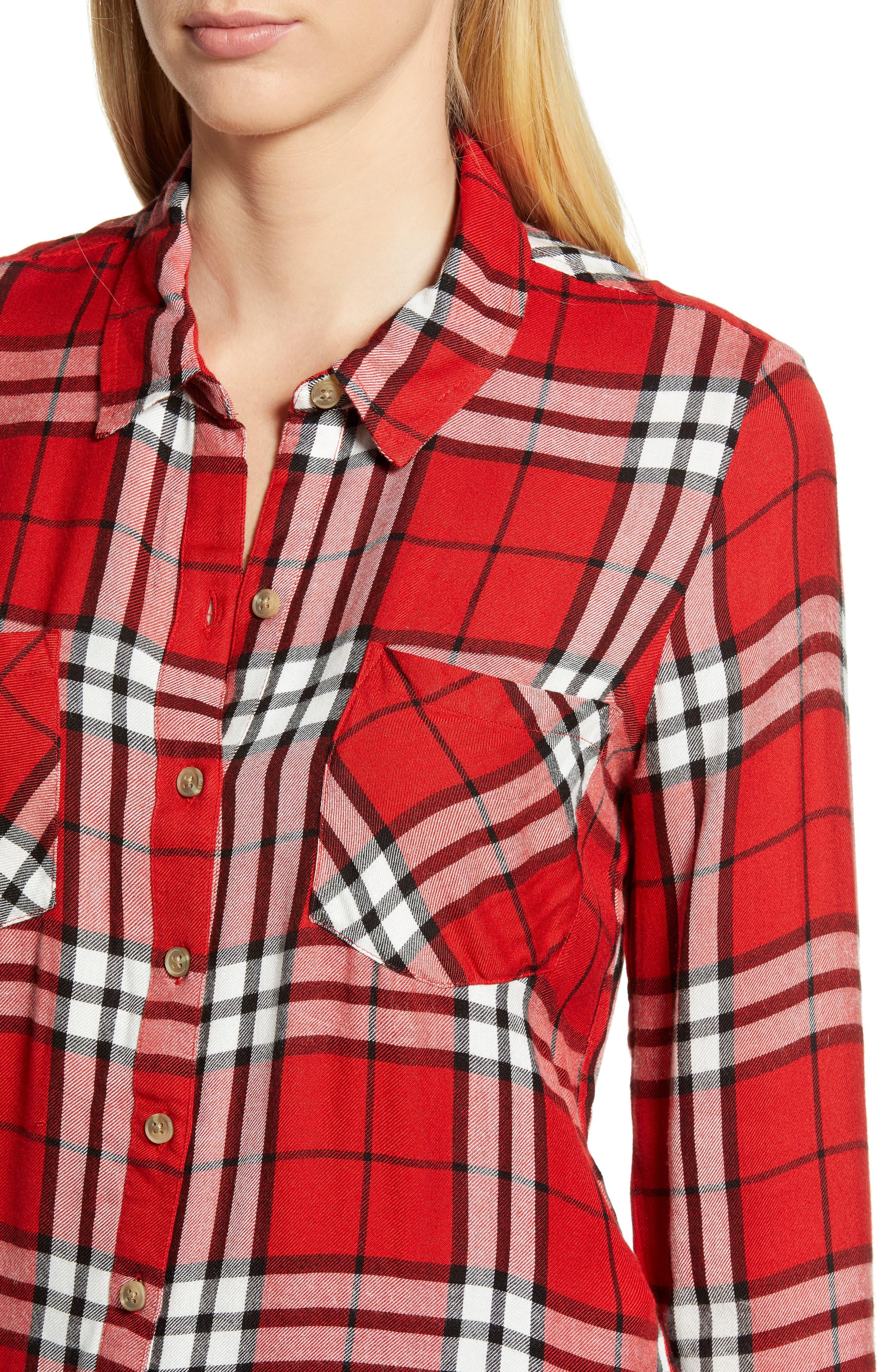 Plaid Shirt,                             Alternate thumbnail 4, color,                             RED MULTI