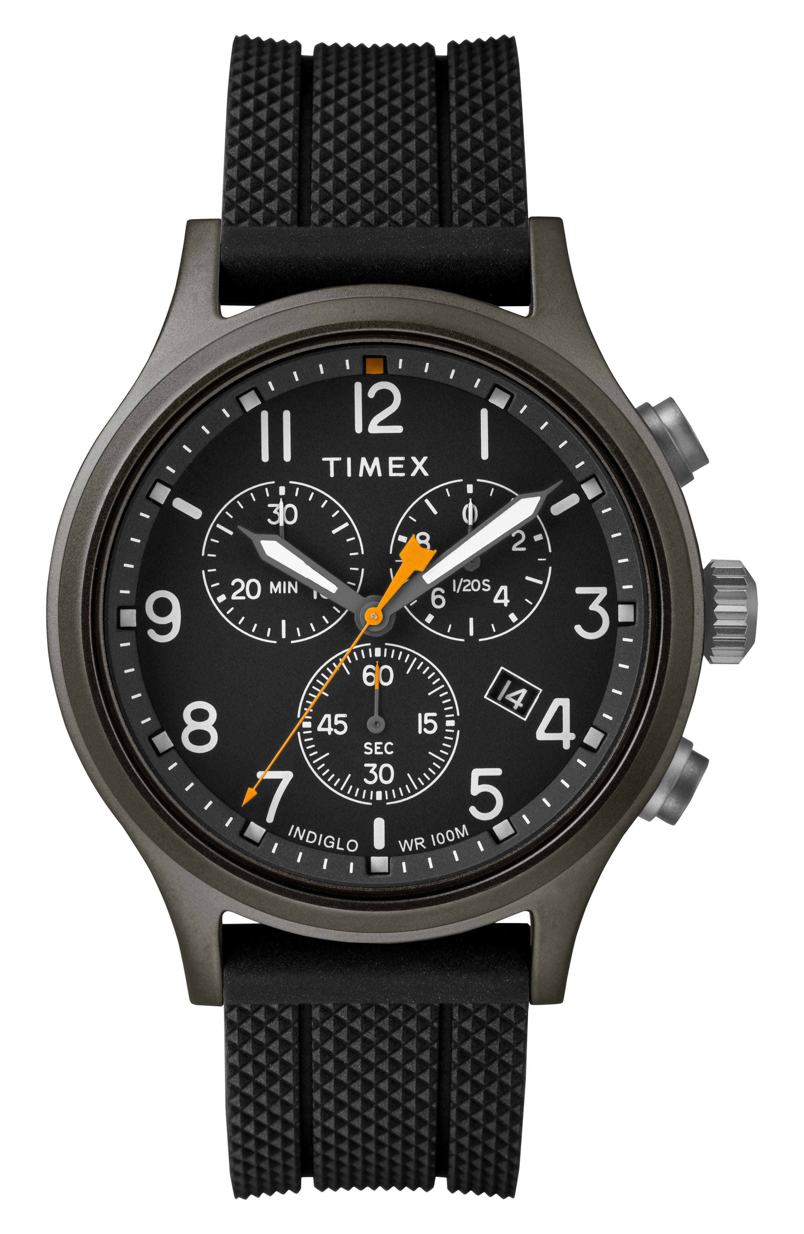 Allied Chronograph Silicone Strap Watch, 42mm,                         Main,                         color, BLACK/ GREY