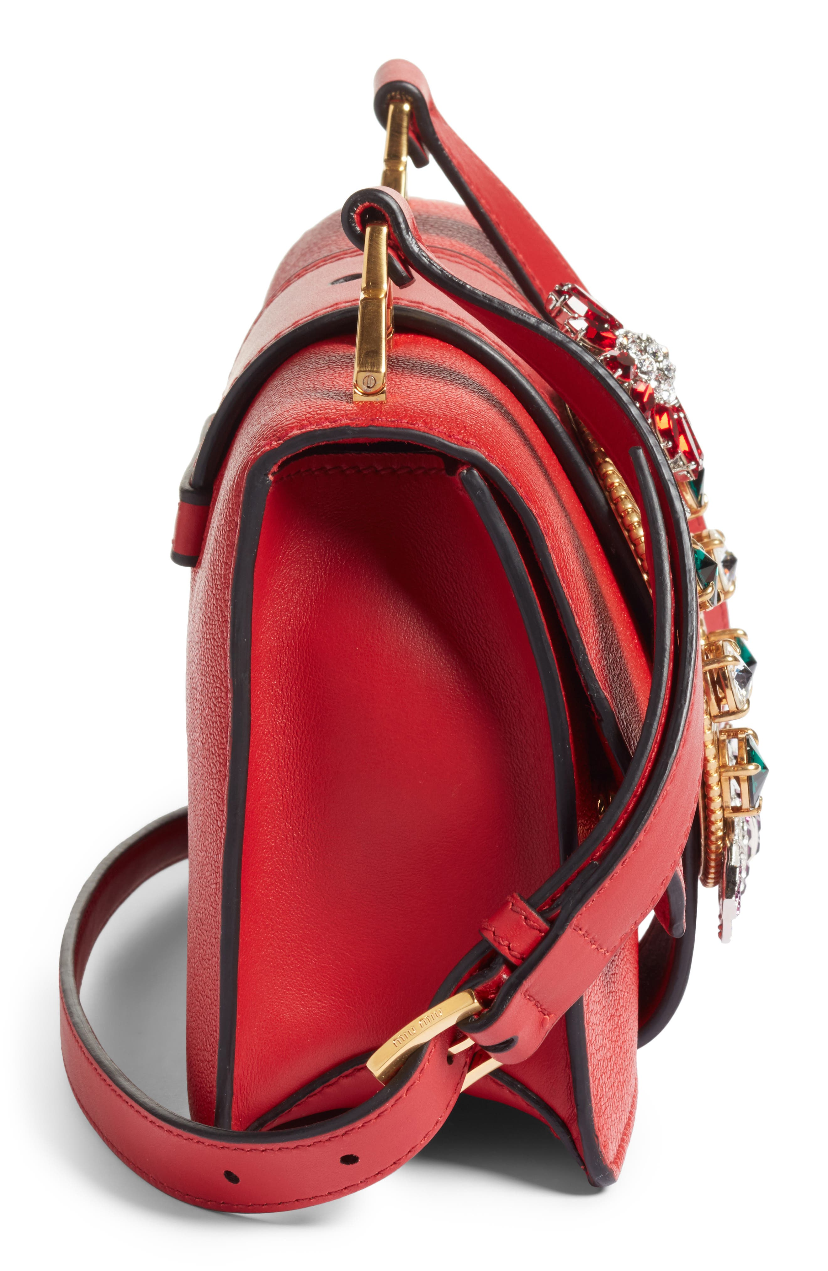 Madras Crystal Embellished Leather Shoulder Bag,                             Alternate thumbnail 5, color,                             FUOCO
