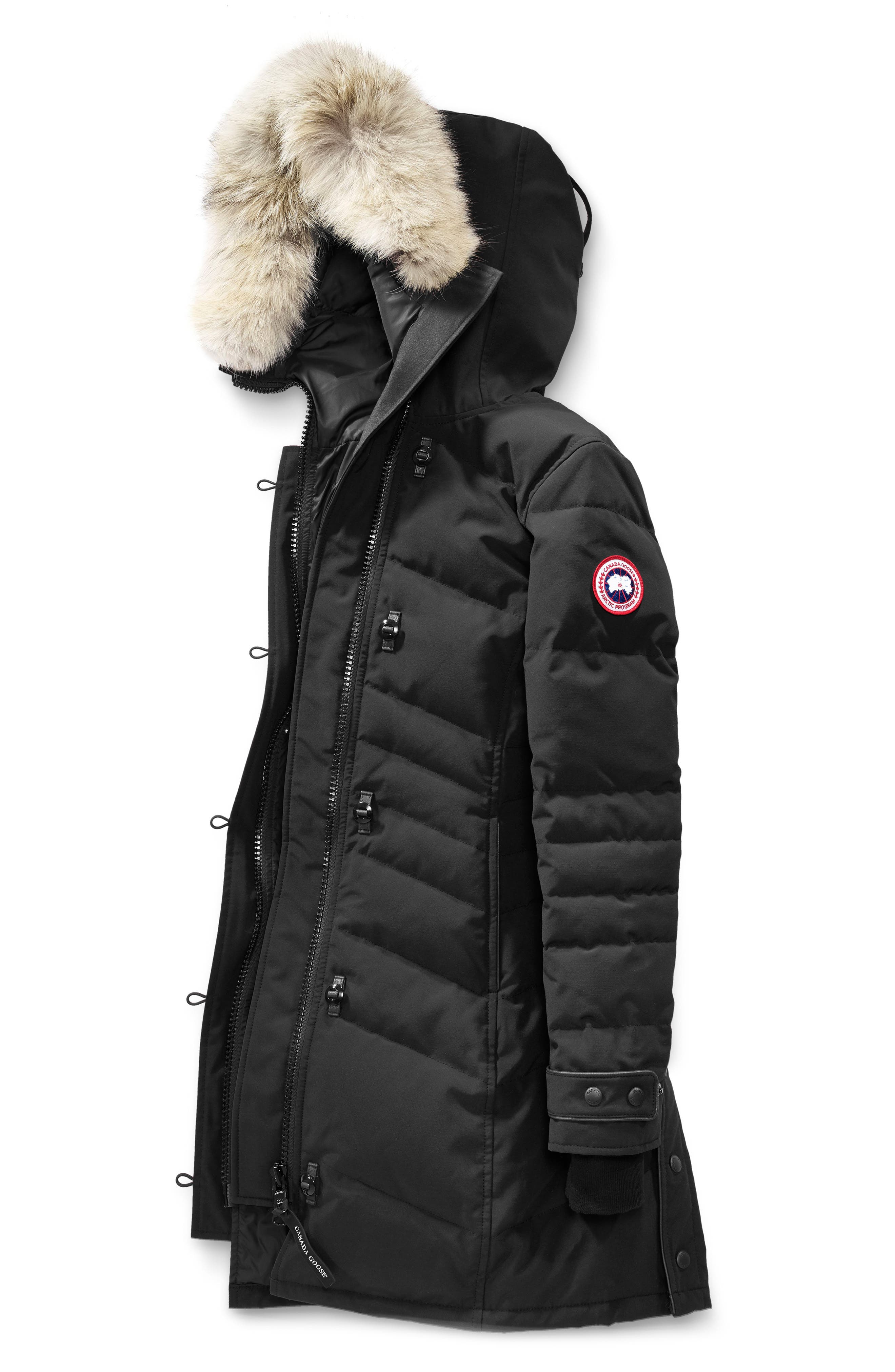 Lorette Fusion Fit Hooded Down Parka with Genuine Coyote Fur Trim,                             Alternate thumbnail 4, color,                             001