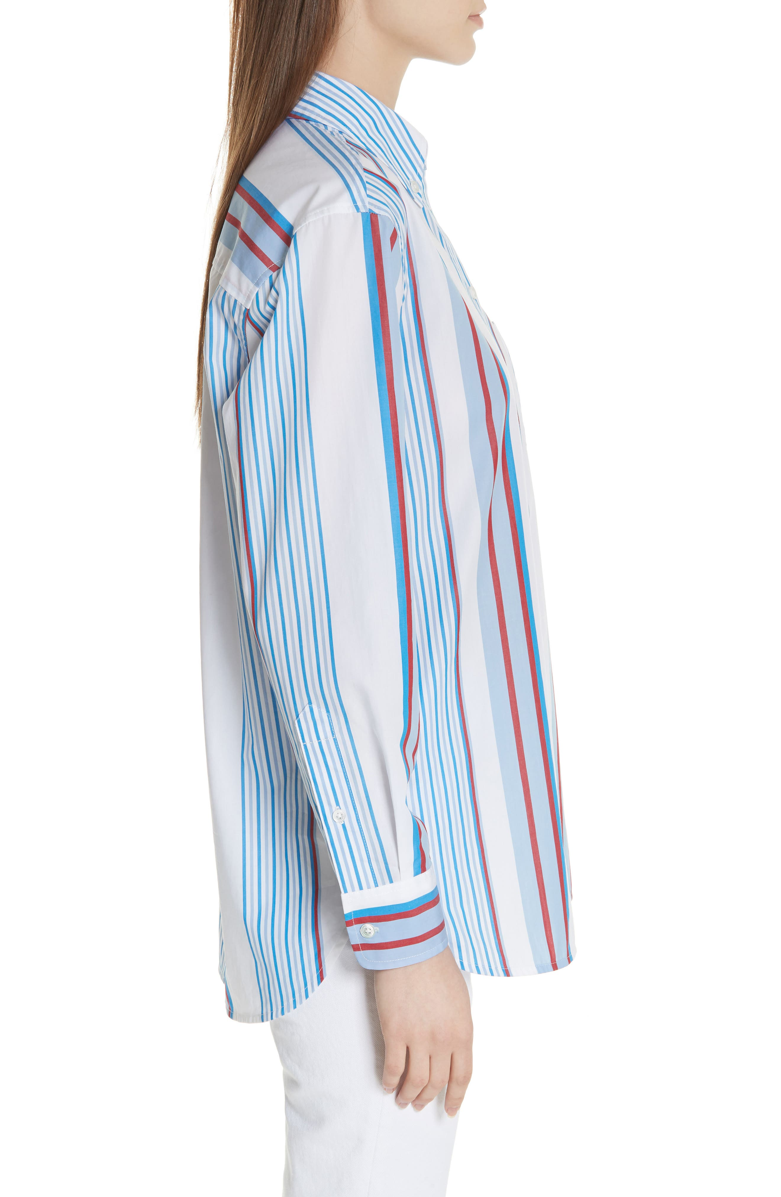 Margaux Stripe Shirt,                             Alternate thumbnail 3, color,                             BLUE WHITE MULTI