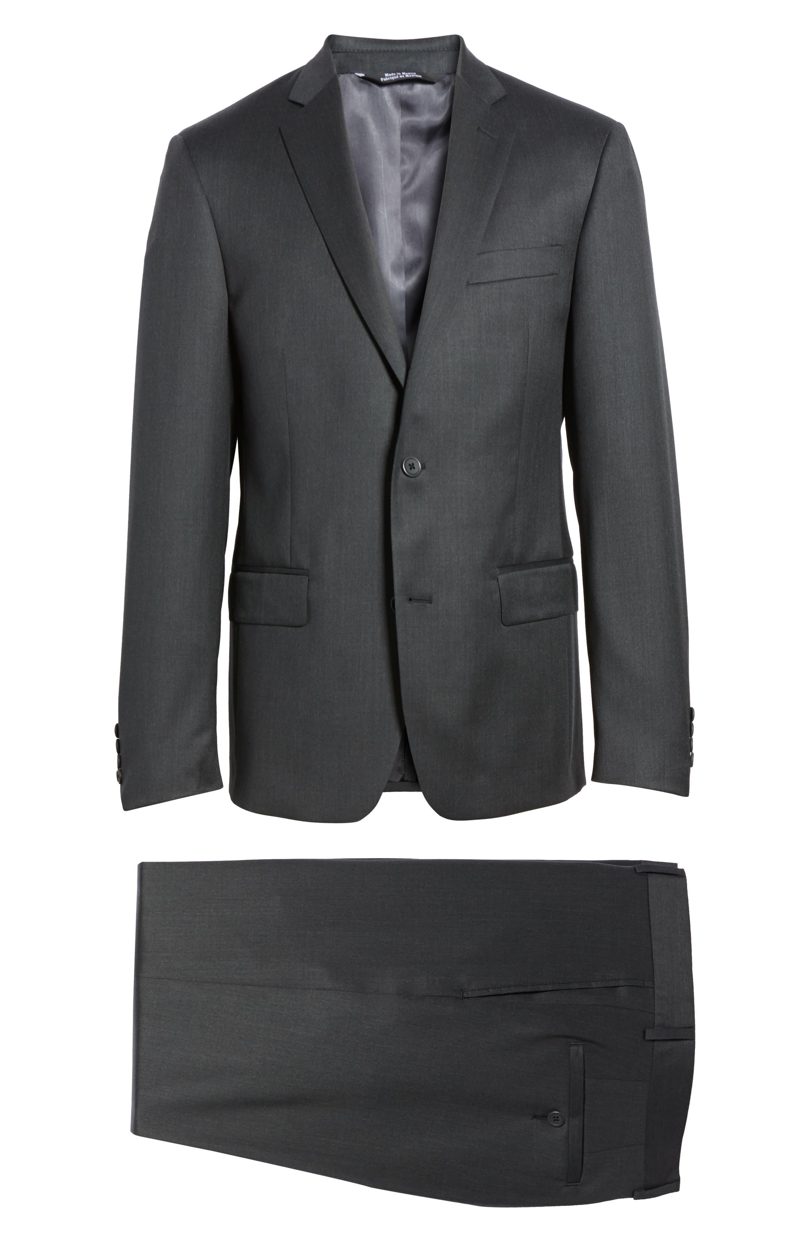 Trim Fit Solid Wool Suit,                             Alternate thumbnail 8, color,                             021