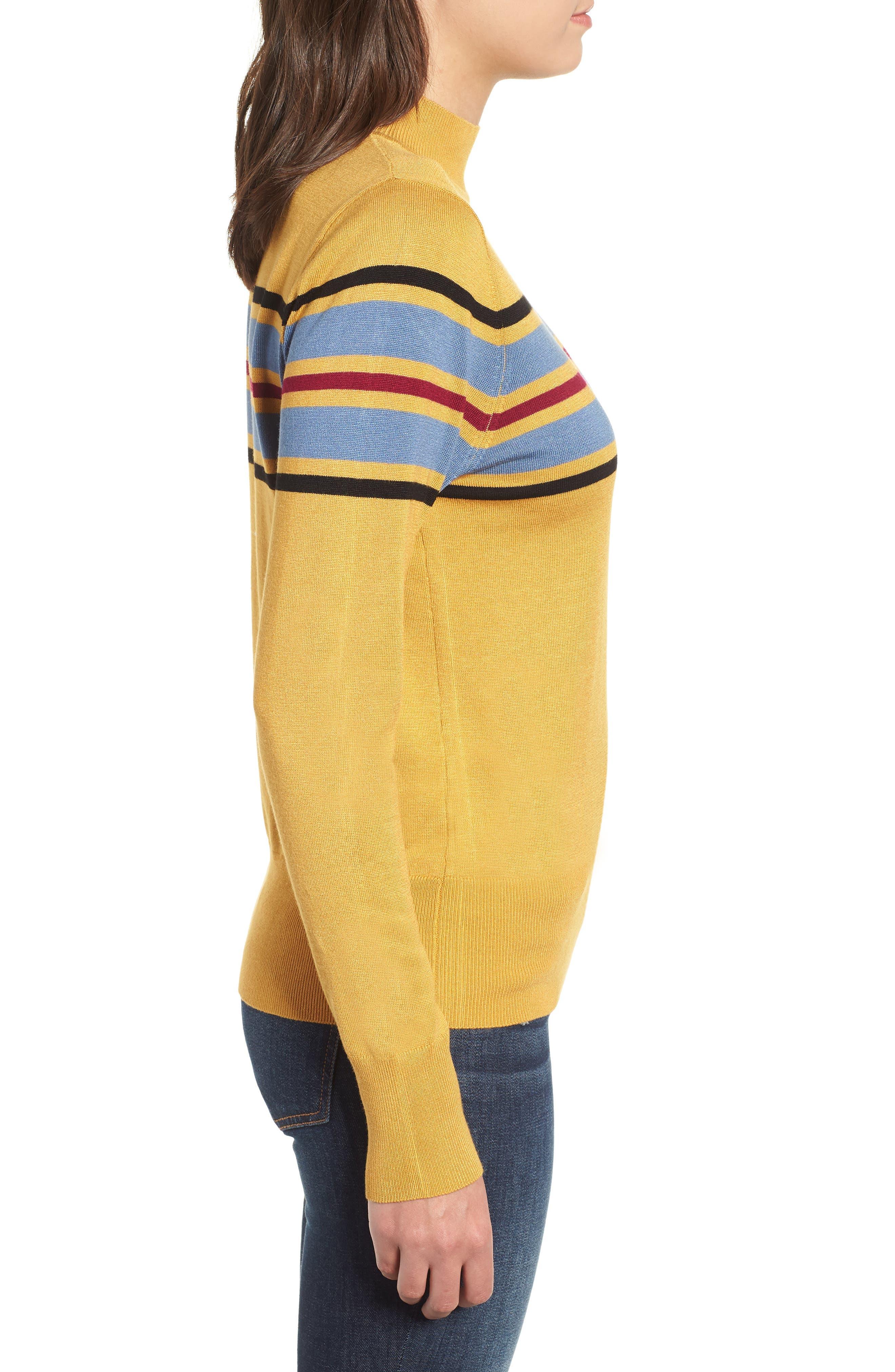 Skivvy Stripe Sweater,                             Alternate thumbnail 3, color,                             MUSTARD