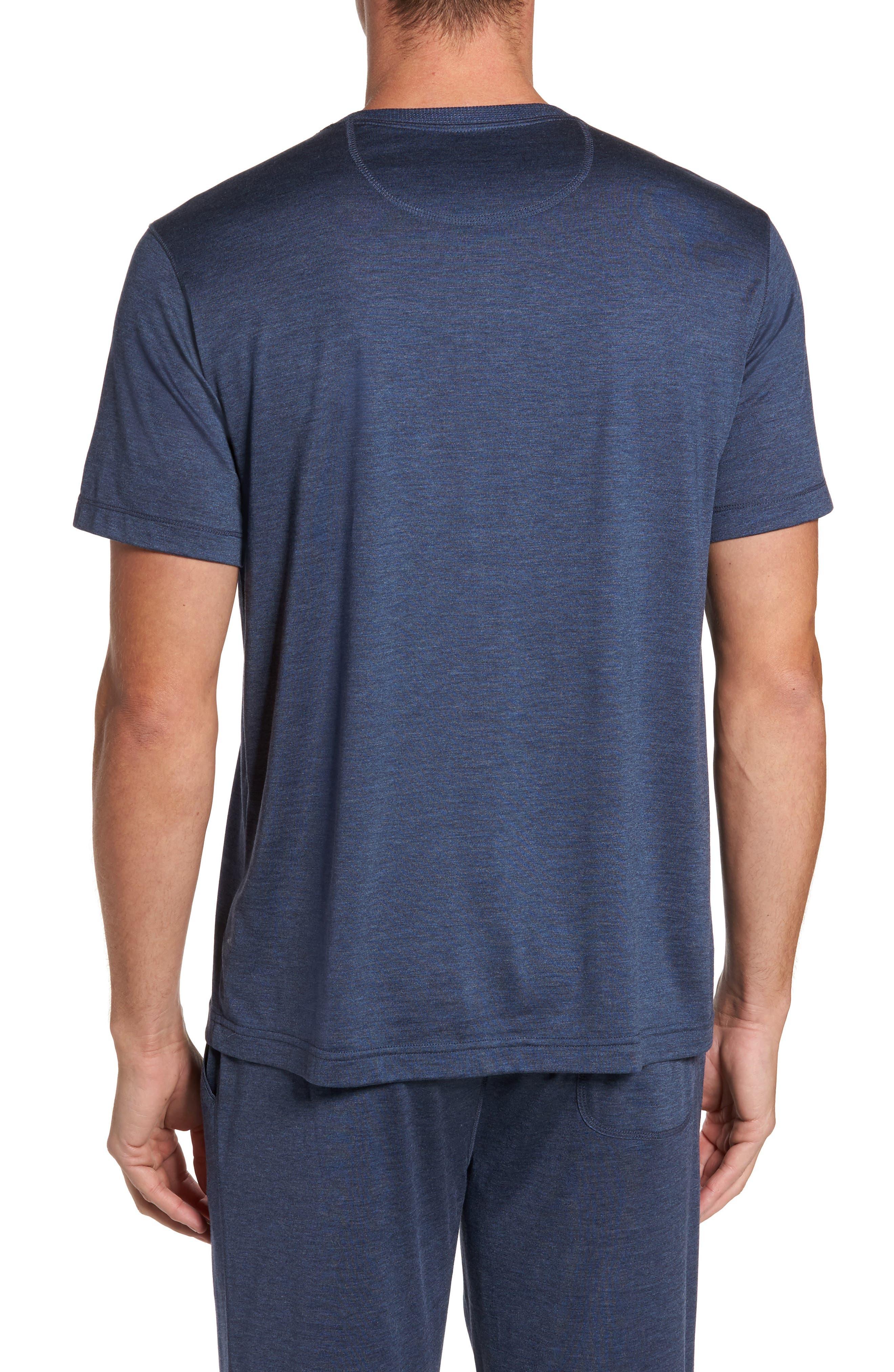 Silk & Cotton Crewneck T-Shirt,                             Alternate thumbnail 2, color,                             NAVY HEATHER