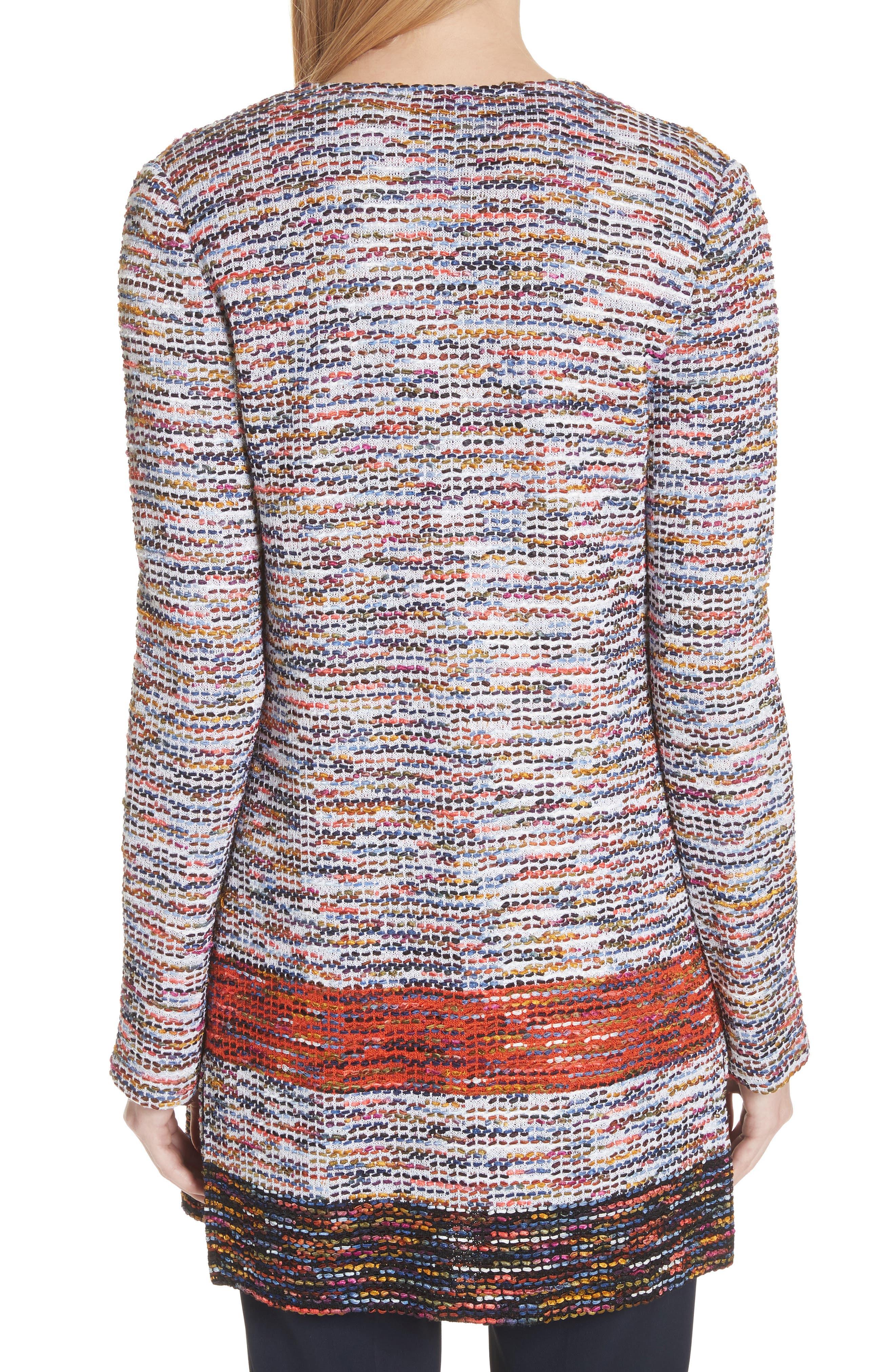Vertical Fringe Multi Tweed Knit Waterfall Cardigan,                             Alternate thumbnail 2, color,                             SIENNA MULTI