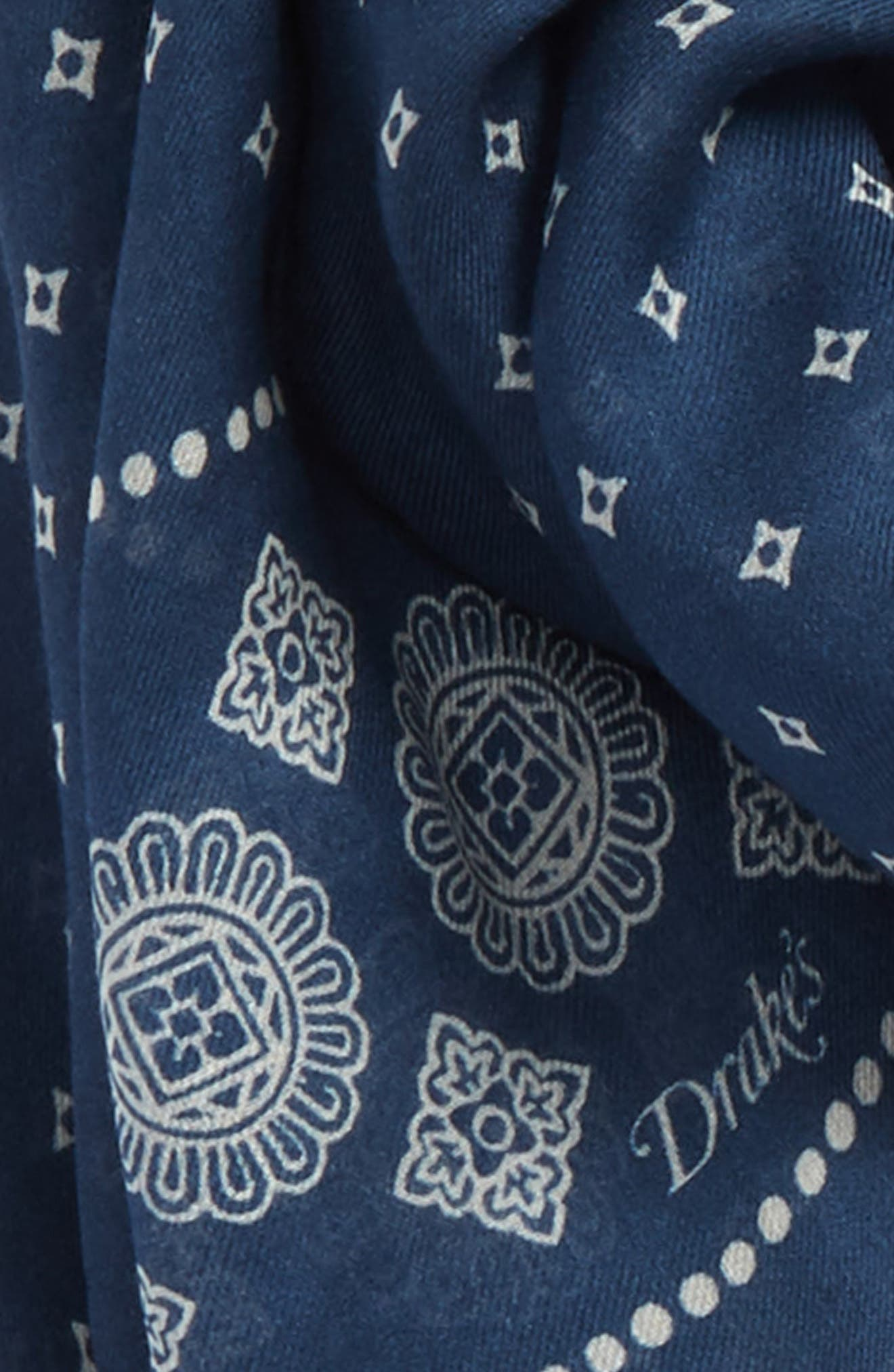 Drakes Block Print Scarf,                             Alternate thumbnail 3, color,                             400