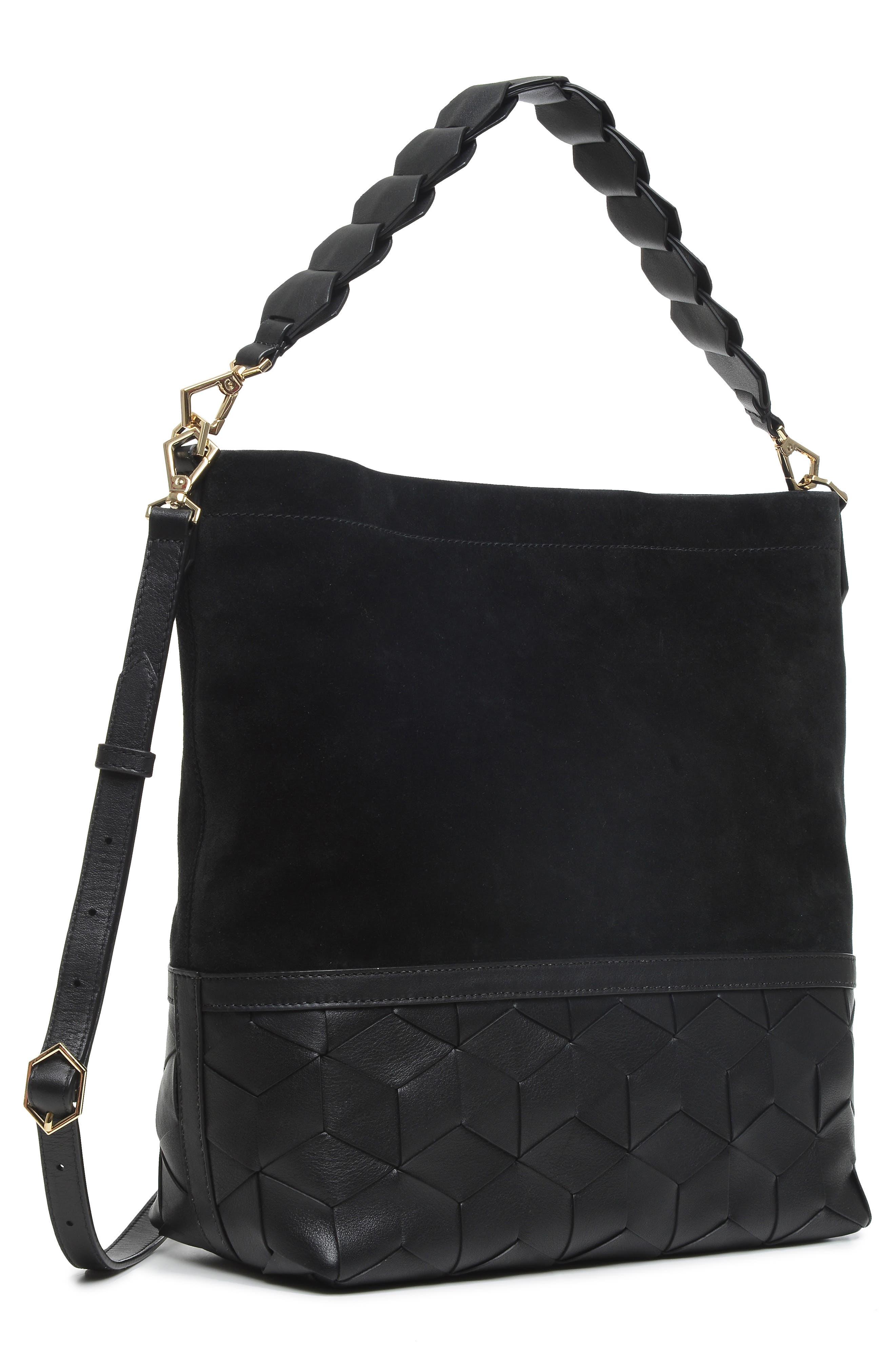 Promenade Leather & Suede Bucket Bag,                             Alternate thumbnail 5, color,                             001
