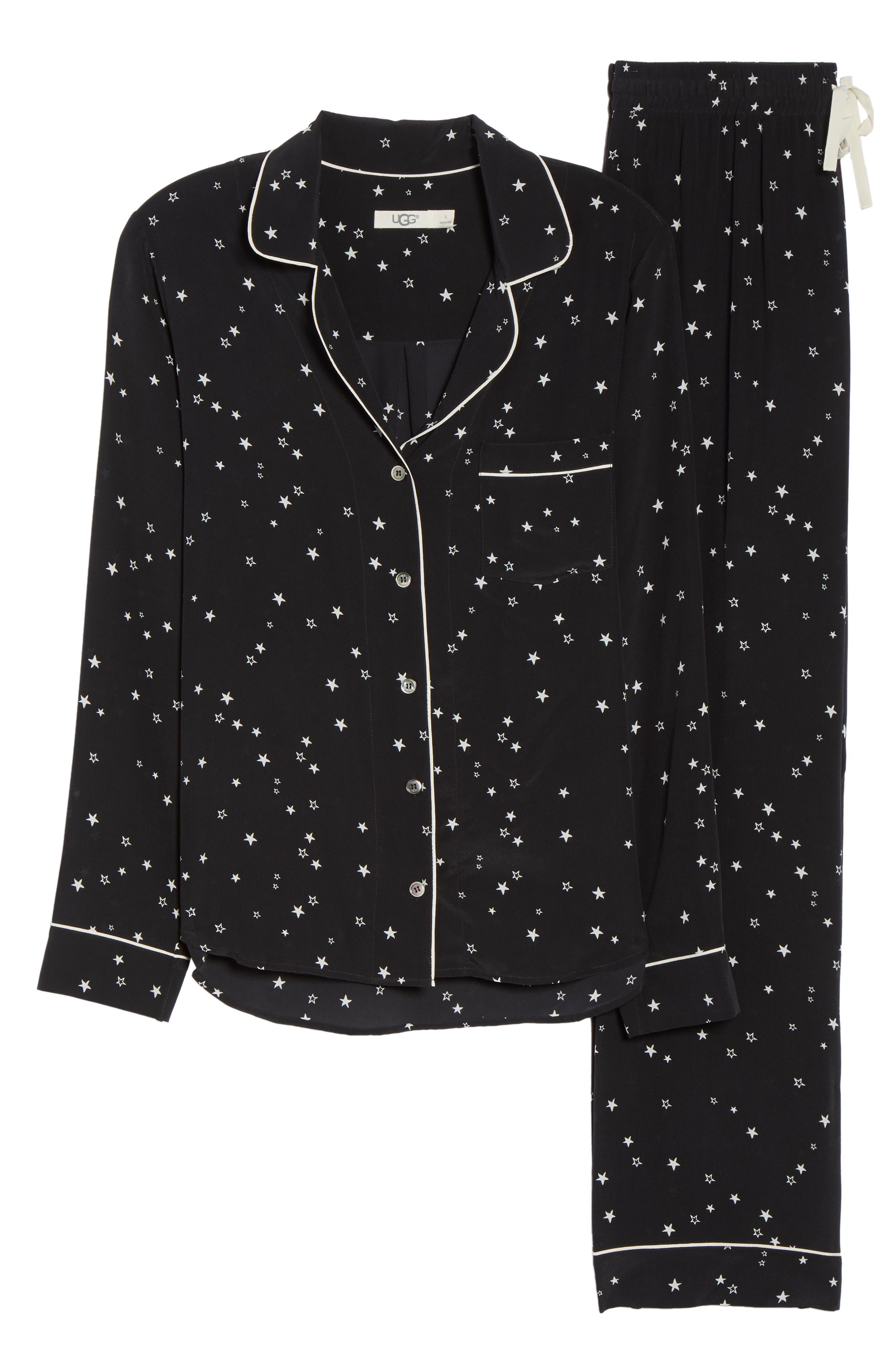Raven Silk Pajamas,                             Alternate thumbnail 6, color,                             BLACK STARS