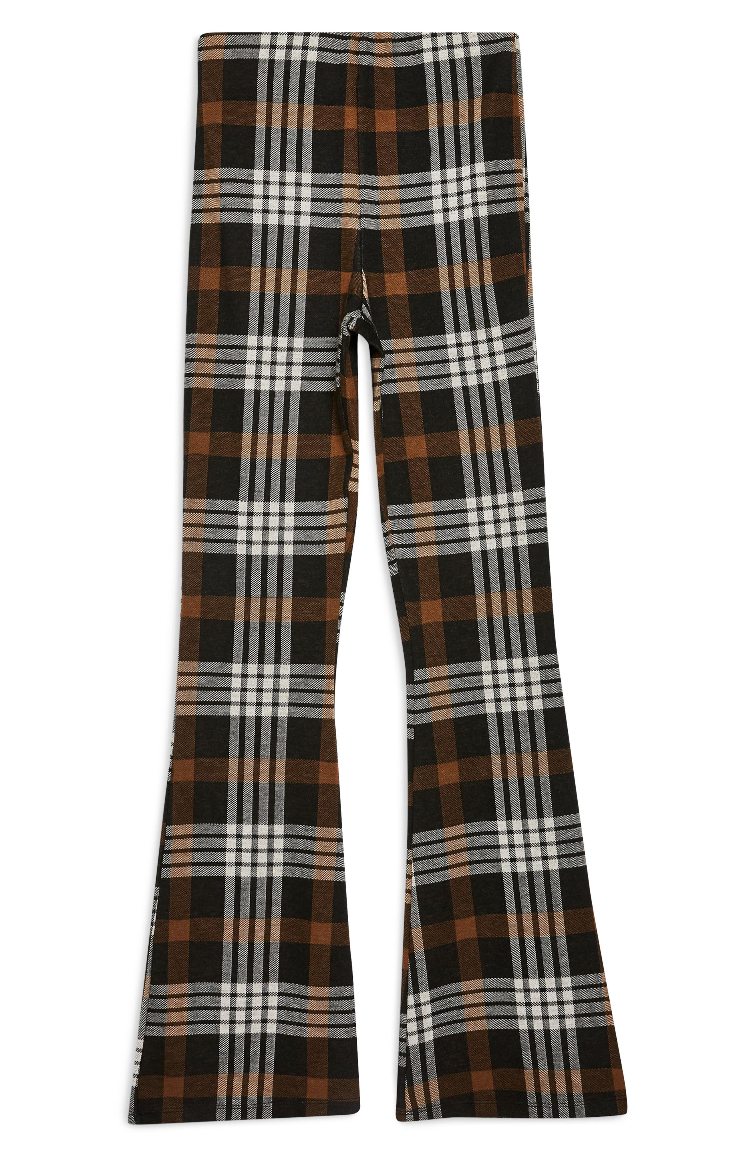 Plaid Flare Pants,                             Alternate thumbnail 3, color,                             BROWN MULTI