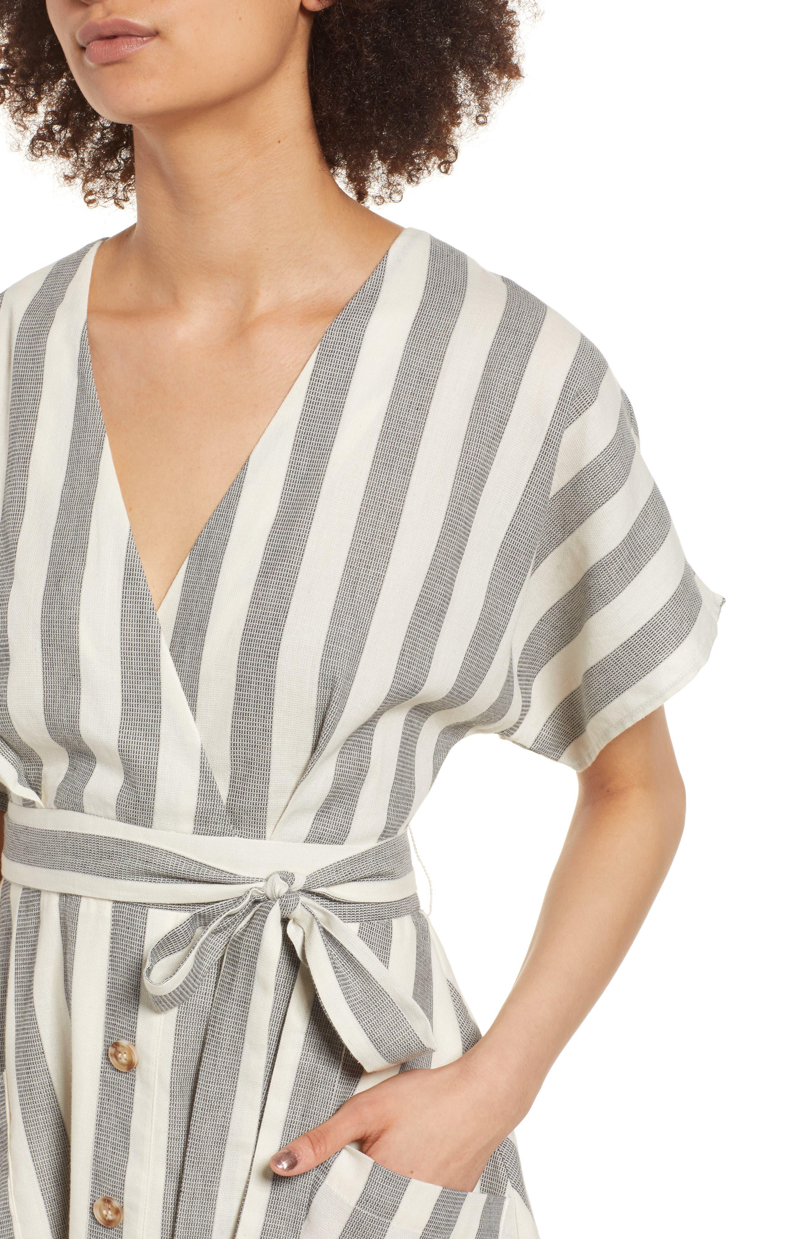 Stripe Cotton Wrap Dress,                             Alternate thumbnail 4, color,                             004