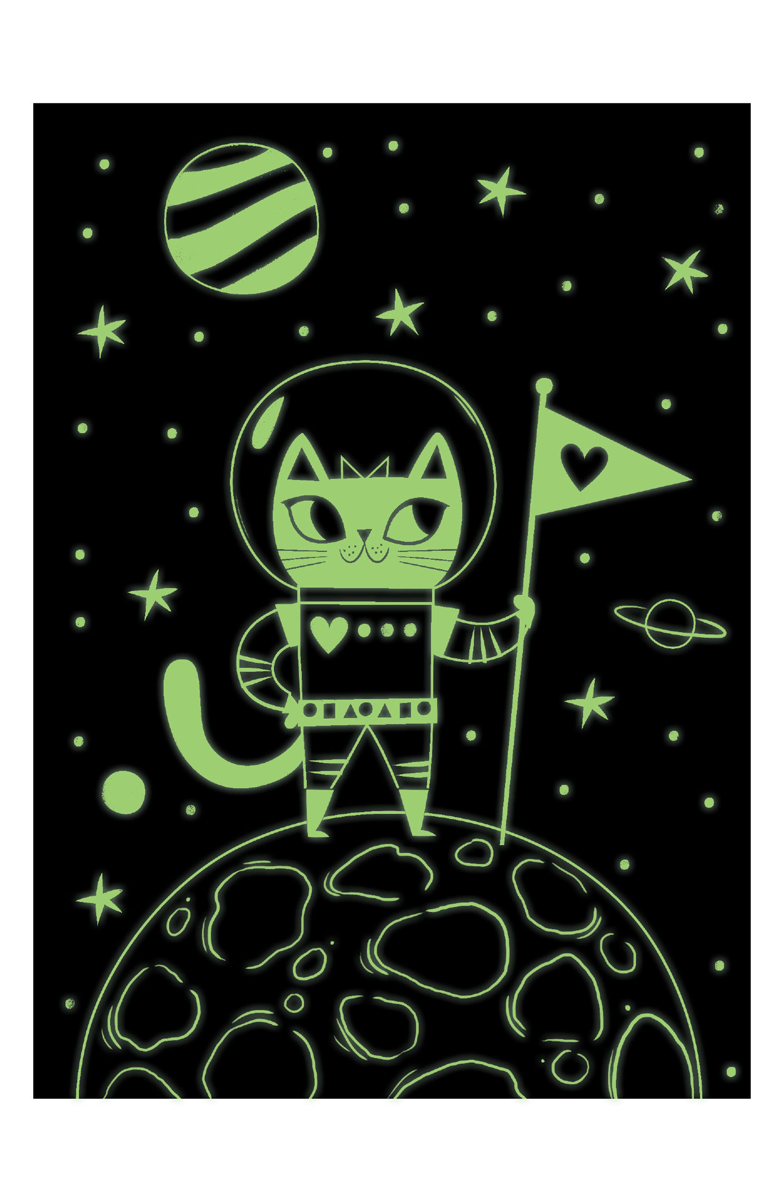 Space Cat Glow-in-the-Dark Locked Diary,                             Alternate thumbnail 2, color,                             500