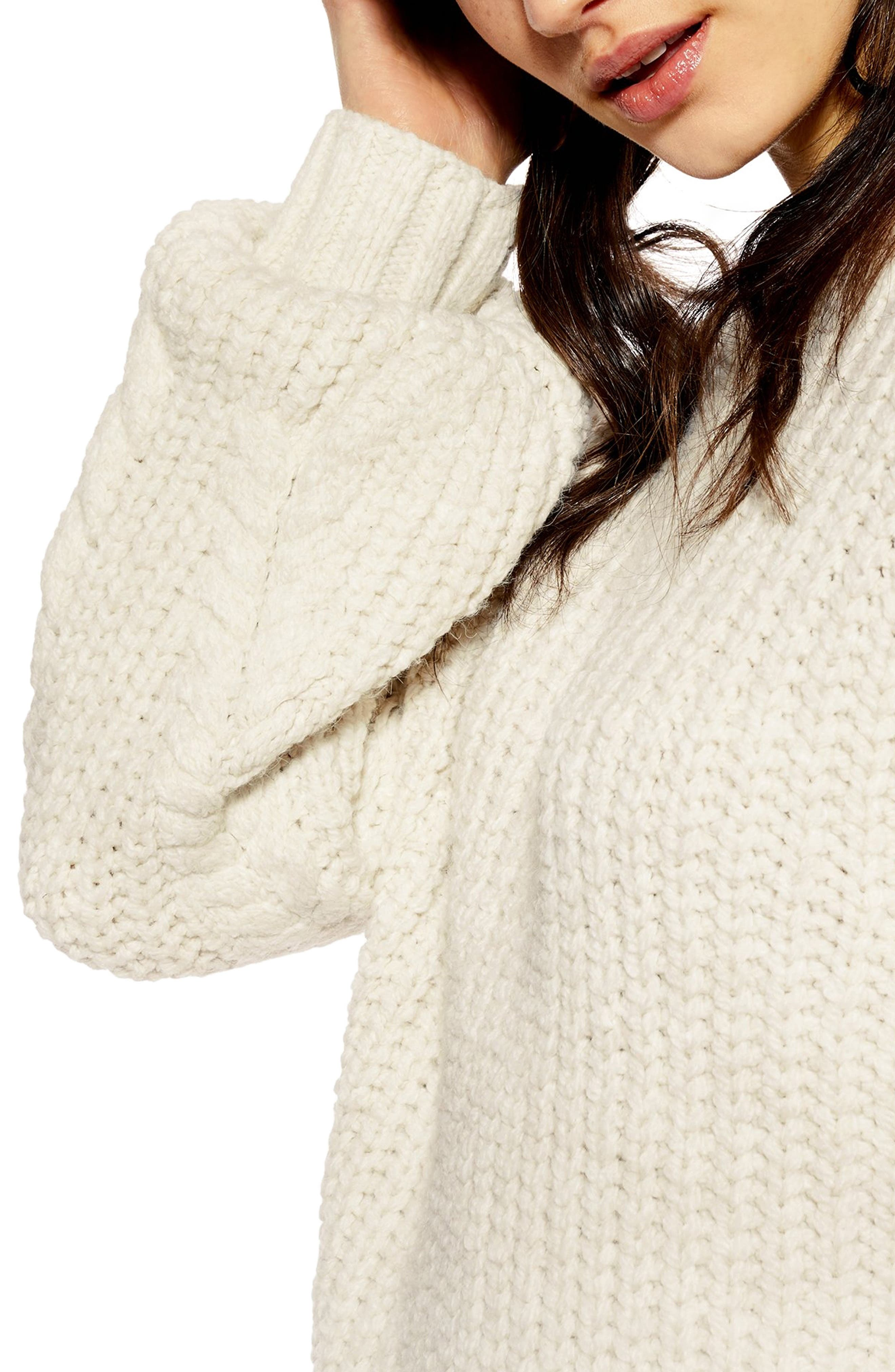 TOPSHOP,                             Bishop Sleeve Cable Knit Sweater,                             Alternate thumbnail 3, color,                             OATMEAL